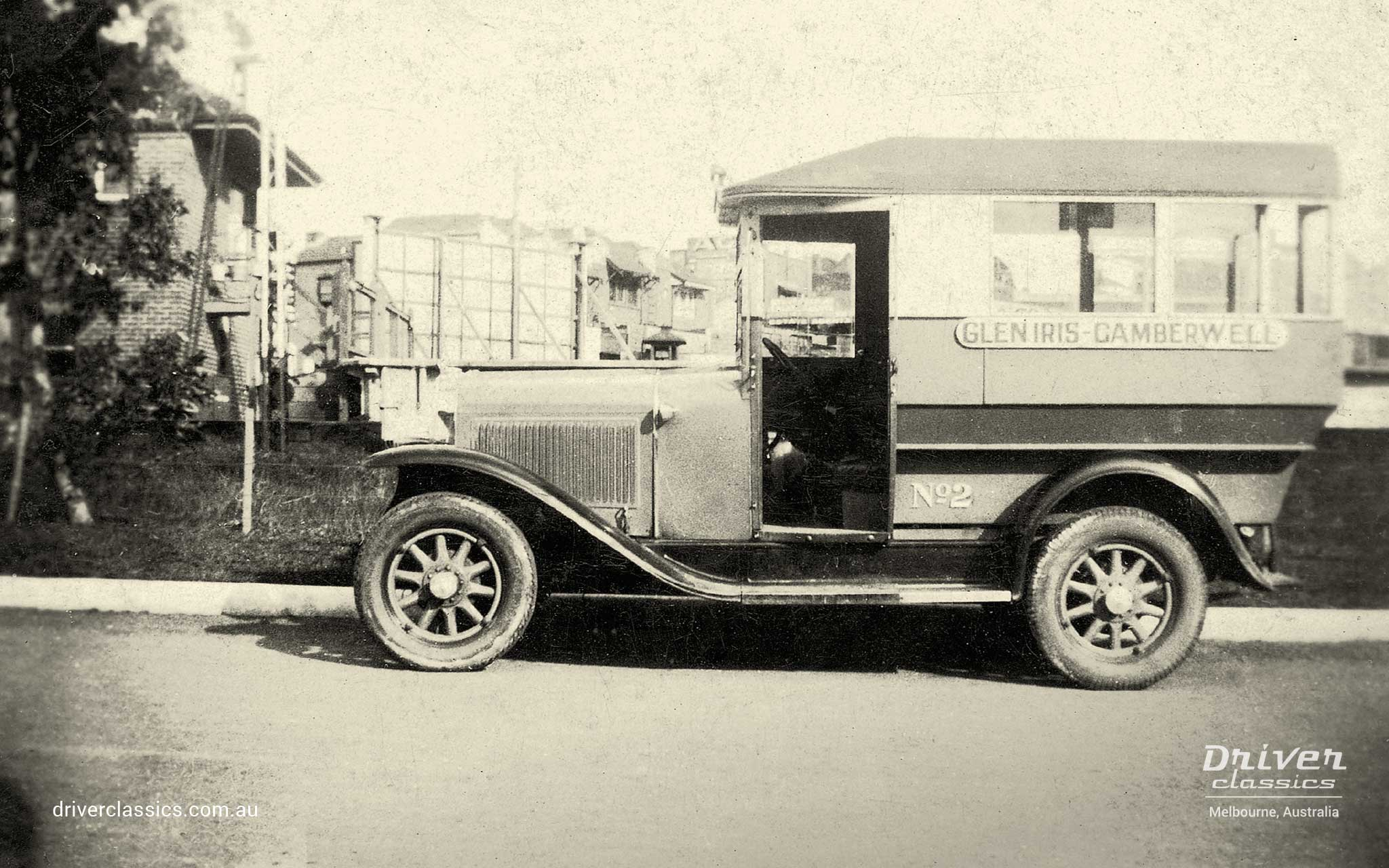 Pontiac 29-6 bus cab. The original Driver Brothers cab #2 at Glen Iris Station, Melbourne VIC, circa early 1930s.