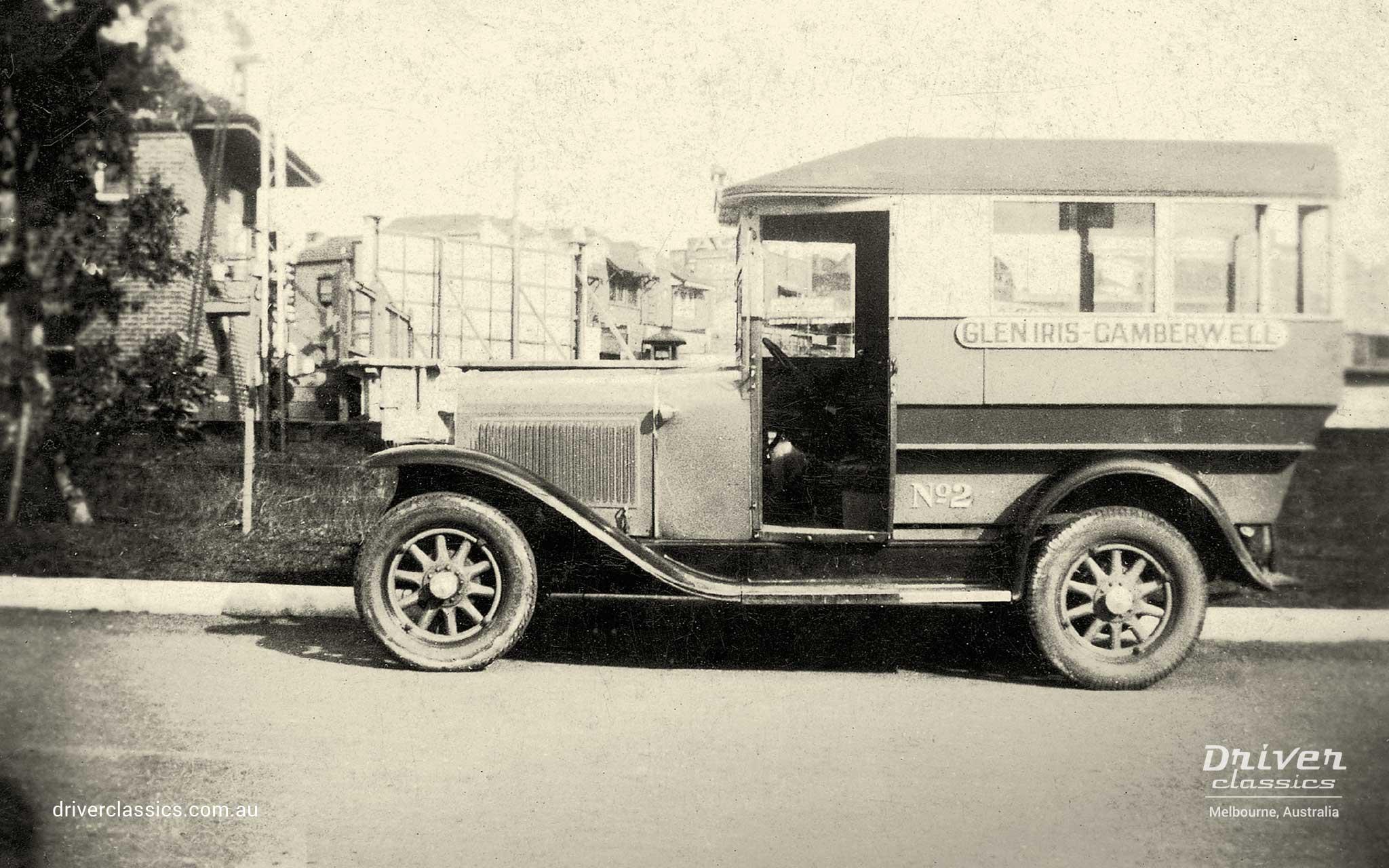 Pontiac 29-6 bus cab. The original Driver Brothers cab #2 at Glen Iris Station, Melbourne VIC, circa early 1930s.