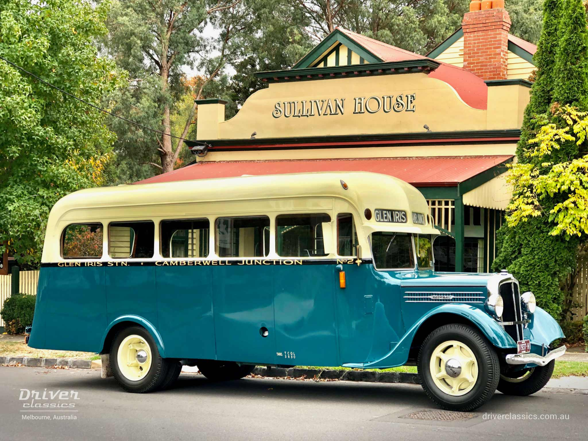 Federal Bus (1936 version), side profile, outside Sullivans shop, photo taken April 2019