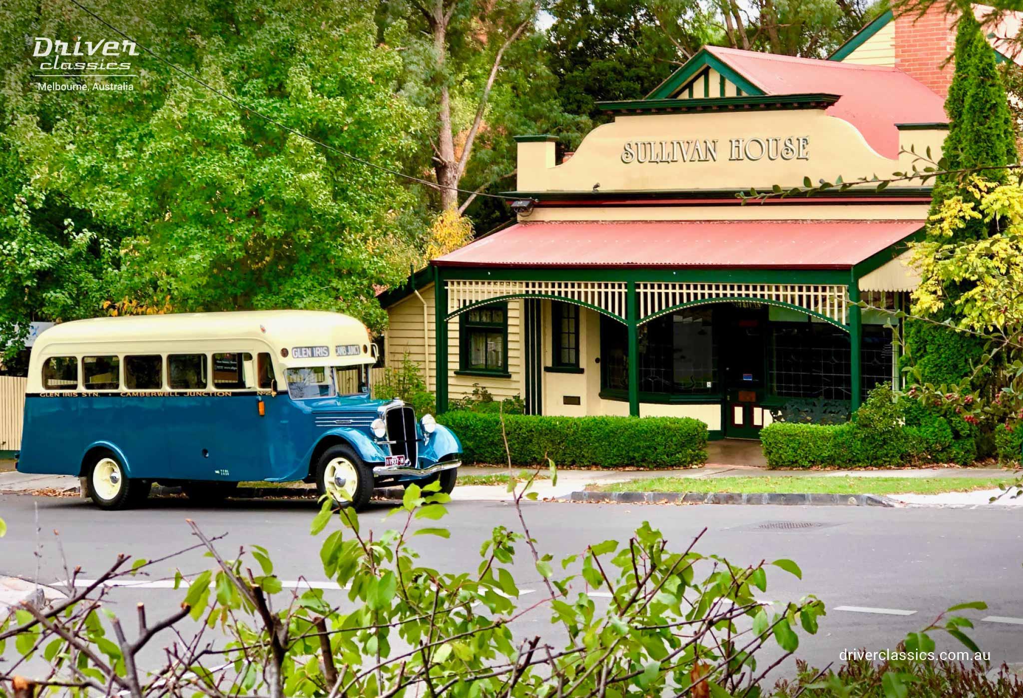 Federal Bus (1936 version), outside Sullivans shop from The Sullivans TV Show, photo taken April 2019