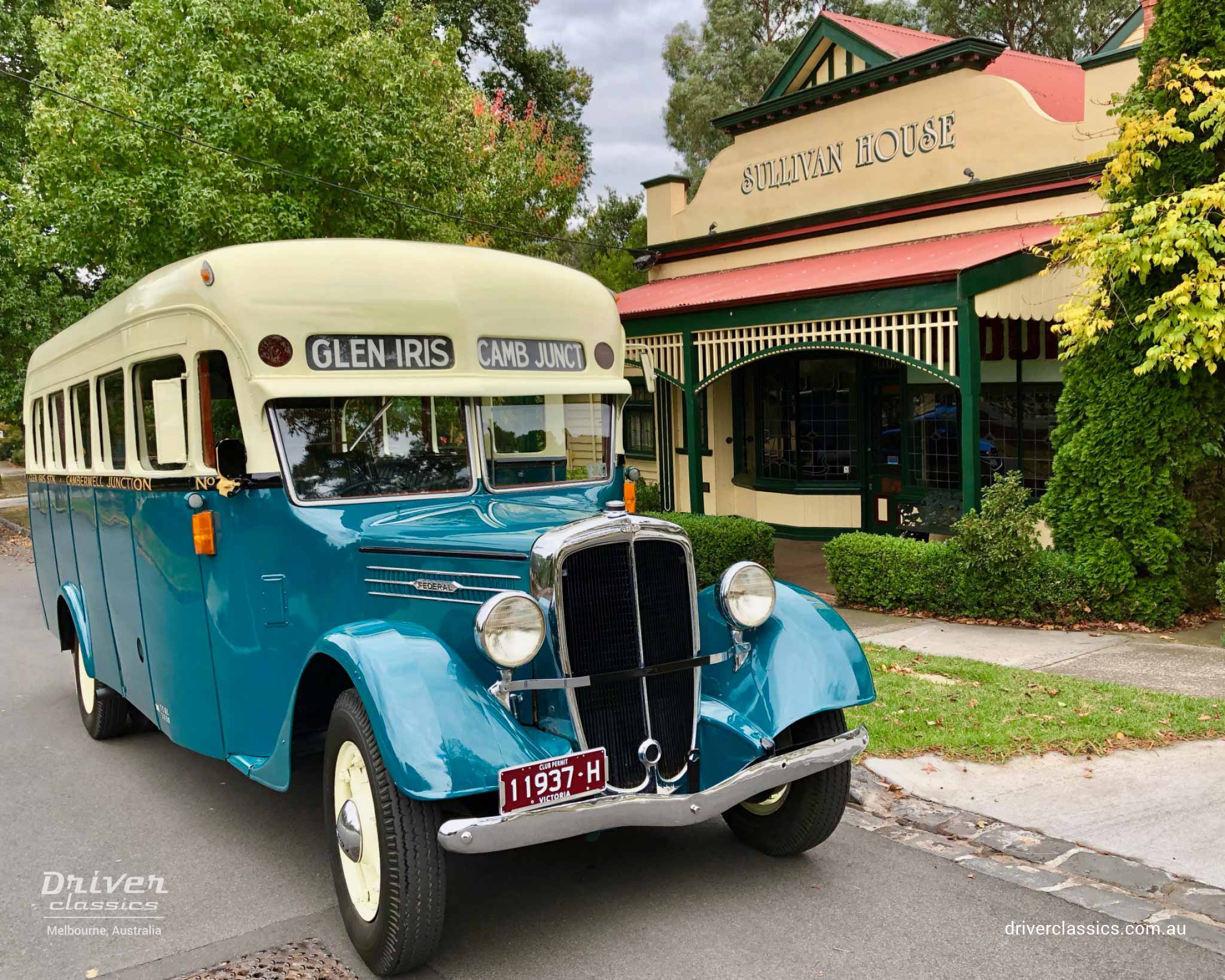 Federal Bus (1936 version), outside Sullivans shop from The Sullivans TV Series, photo taken April 2019