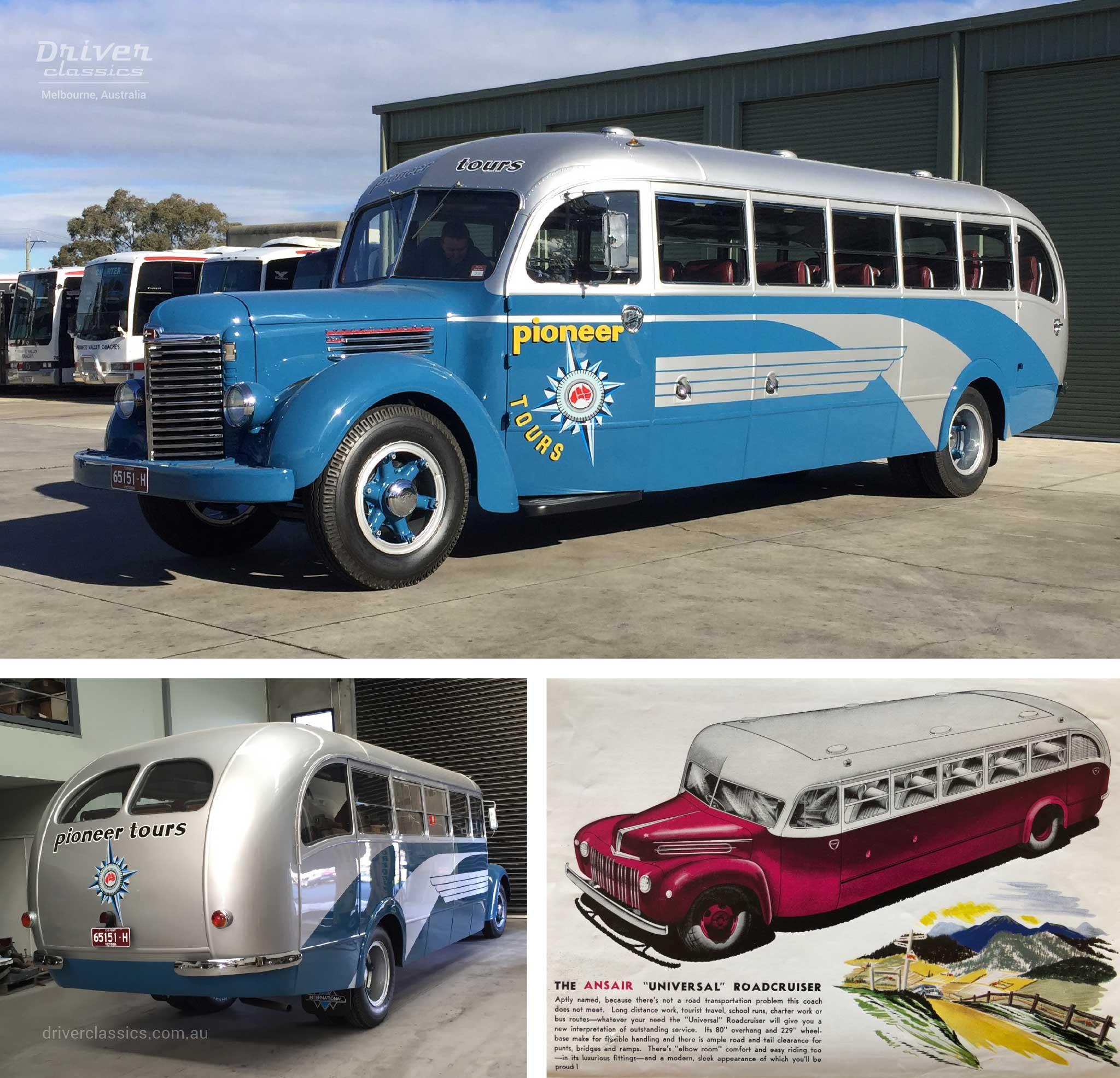 Ansair Roadcruiser / International KB6 Bus, 1946 version, and advertisment