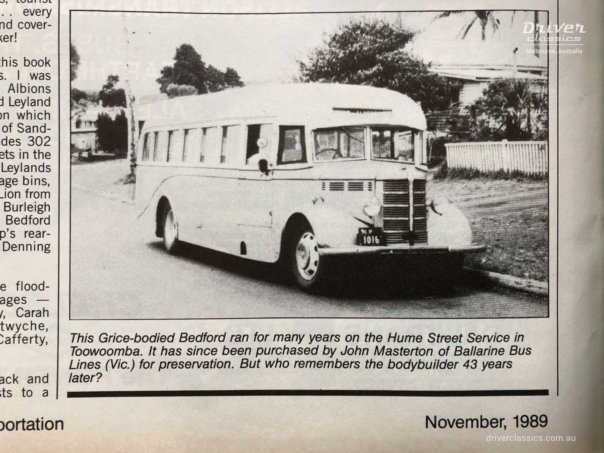 1946 Bedford OB / Grice bus, in Truck and Bus Transportation Magazine, November 1989