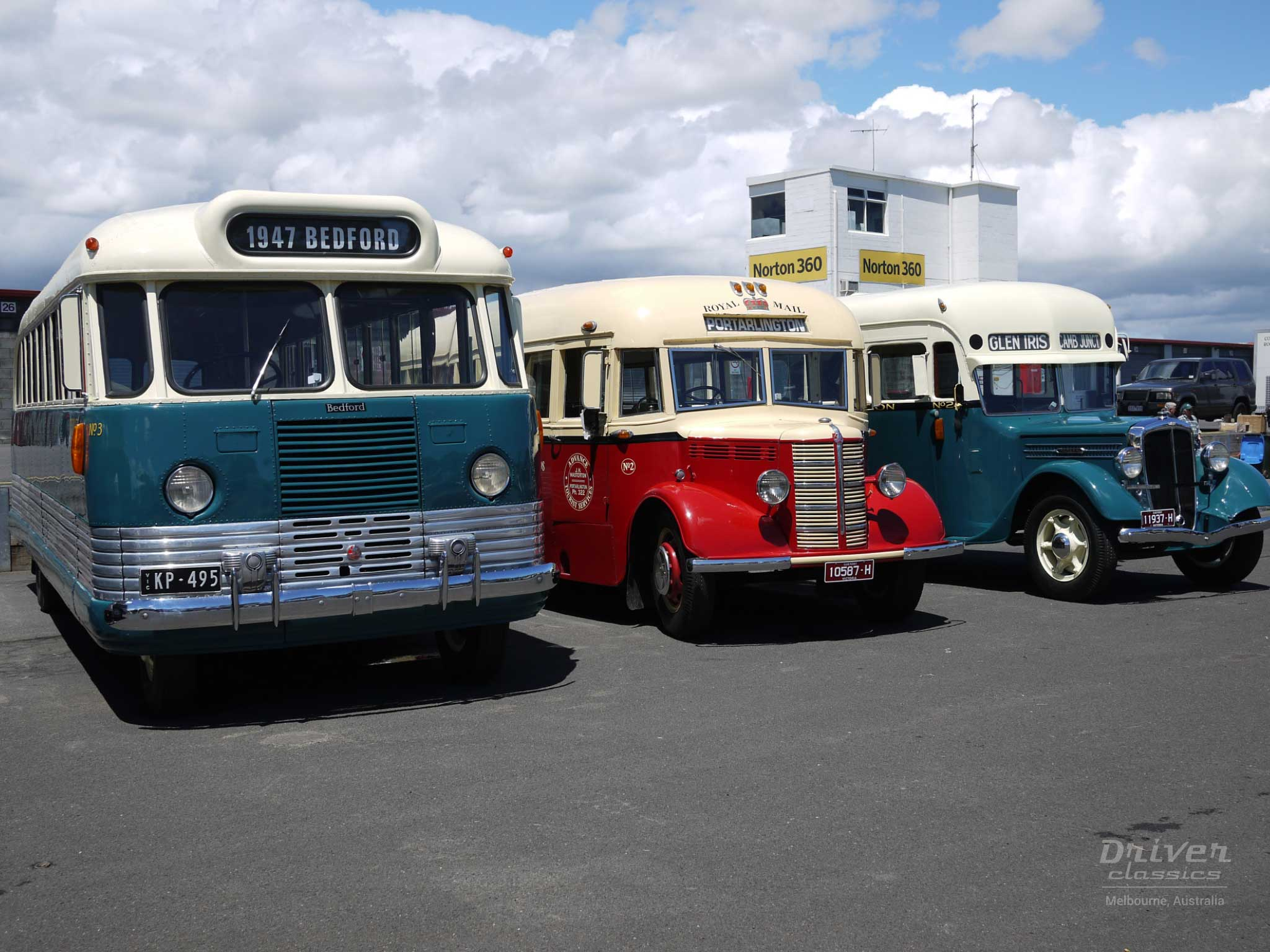 1946 Bedford OB with 1947 Bedford OB and 1936 Federal buses