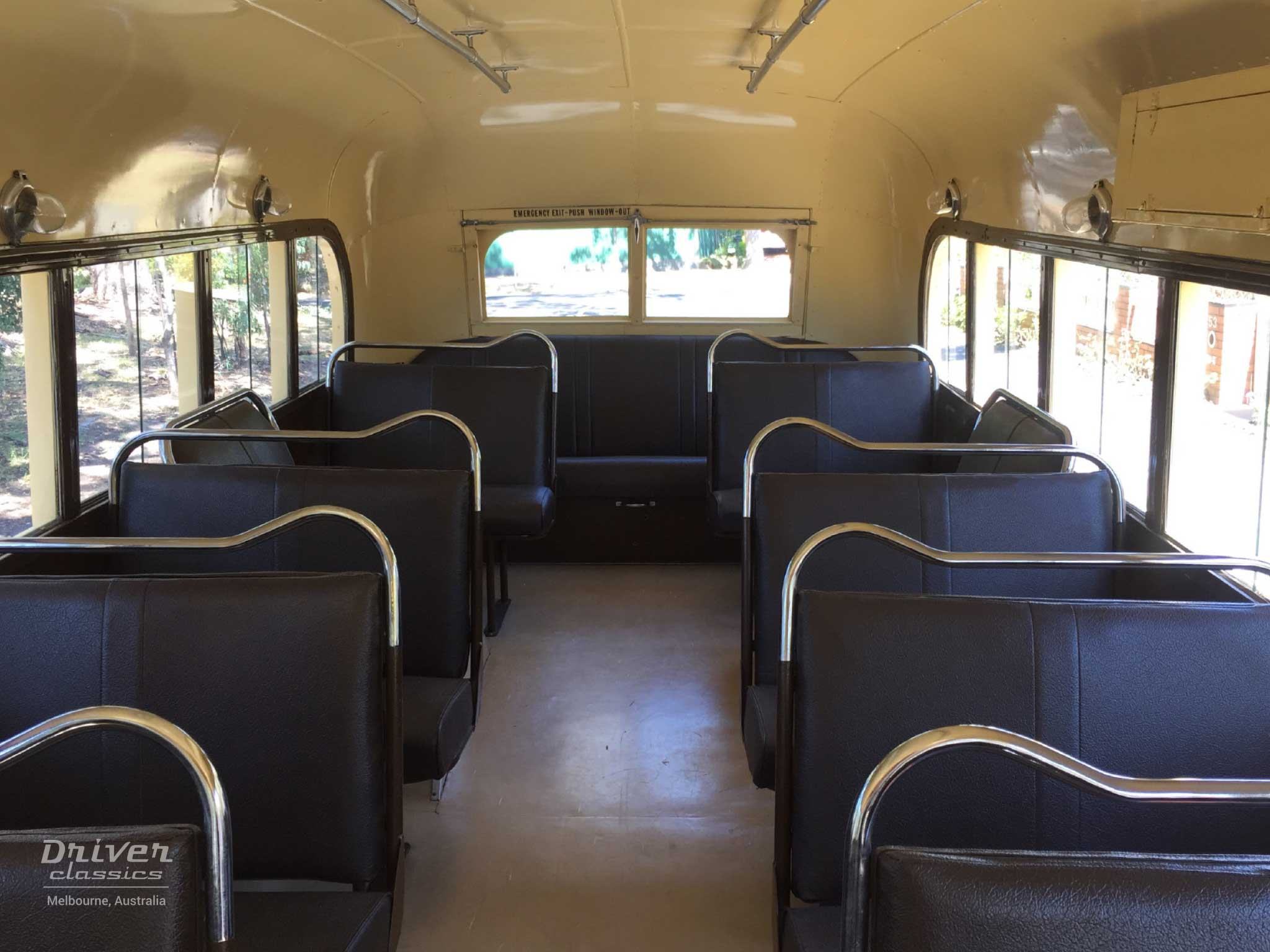 Bedford OB bus, 1946 model, interior and seats