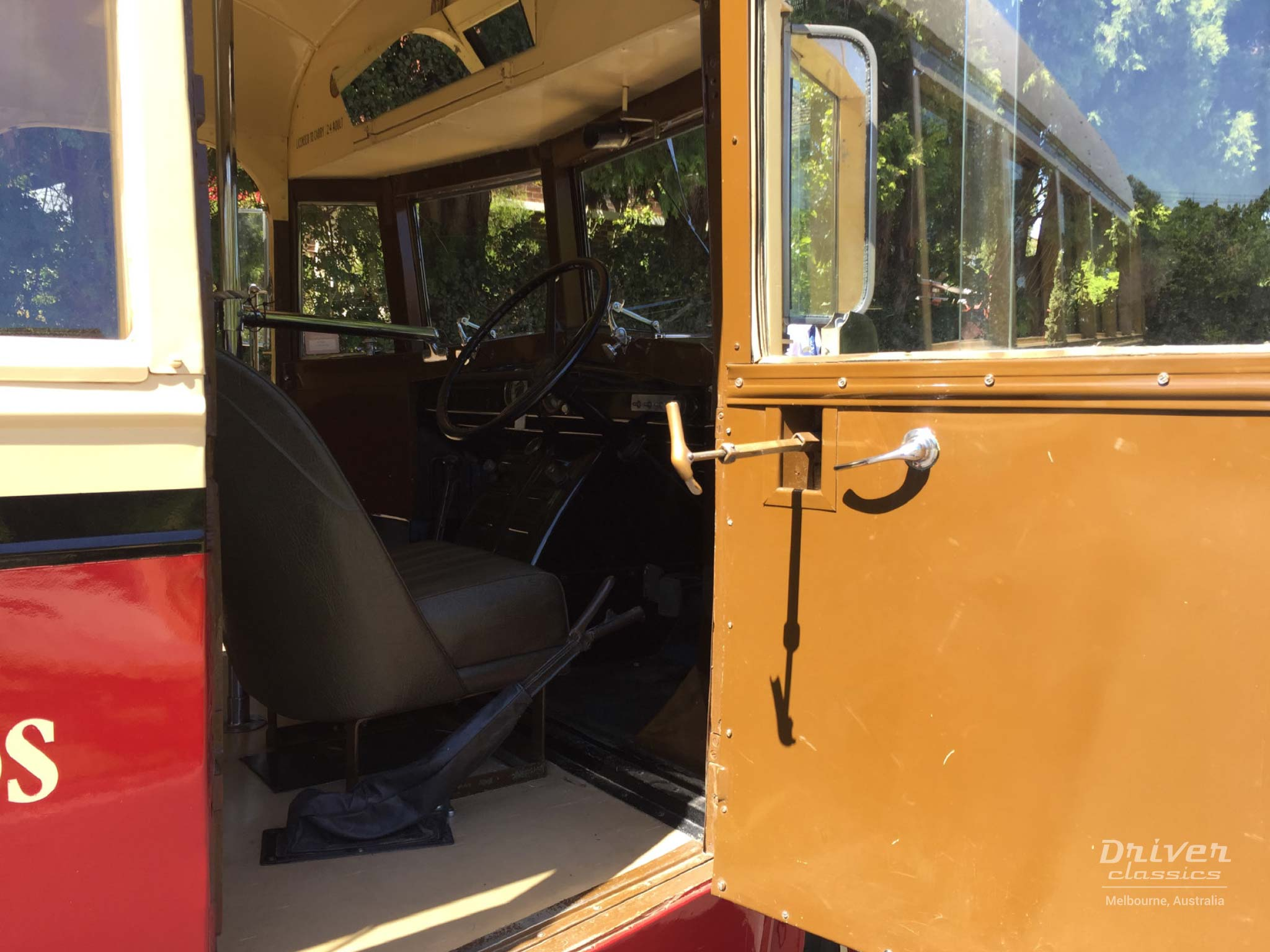 Bedford OB bus, drivers door and entrance