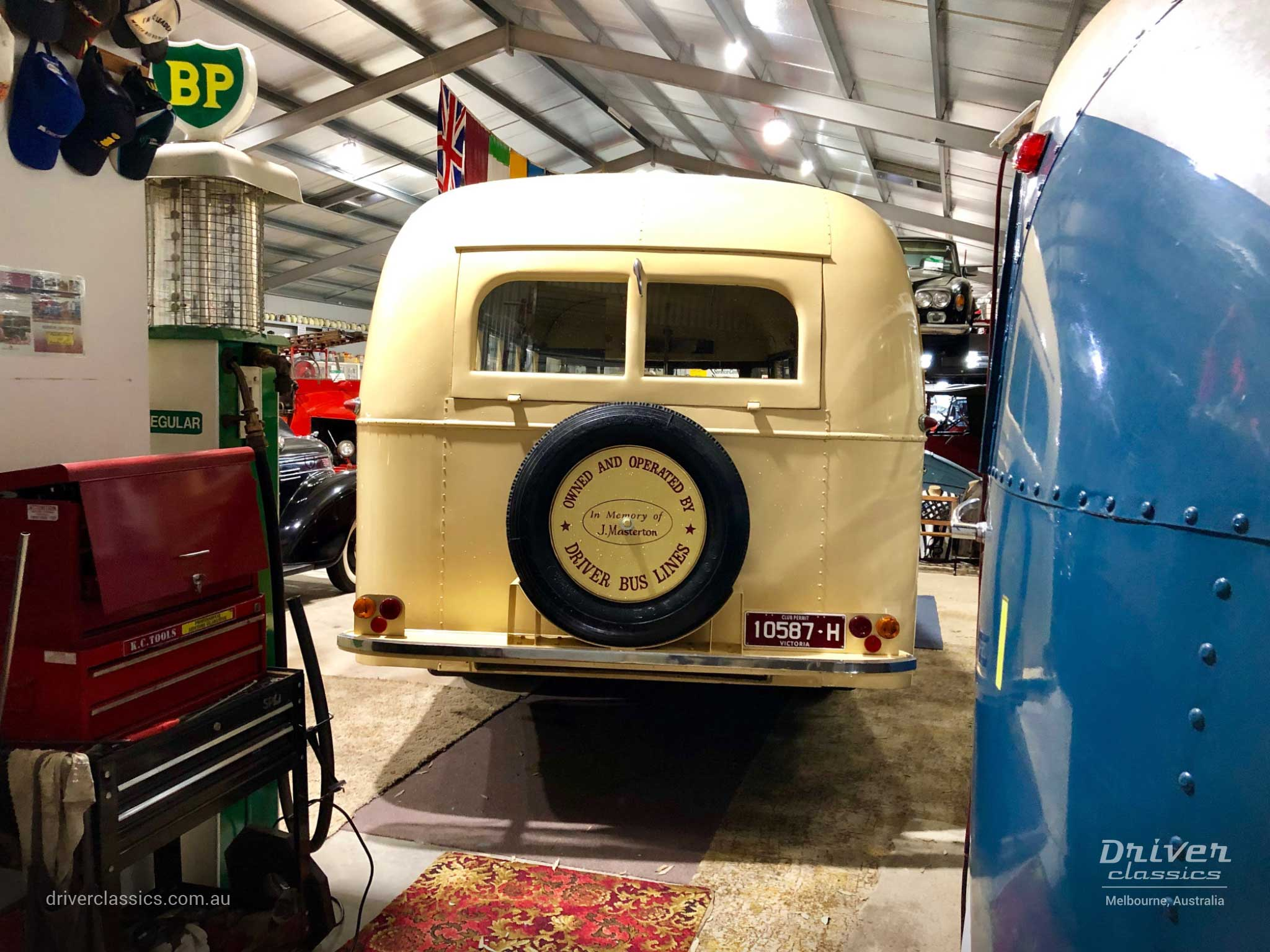 Bedford OB bus (1946 version) from back, at Glen Campe Motor Museum Hamilton, Victoria. Photo taken April 2019.