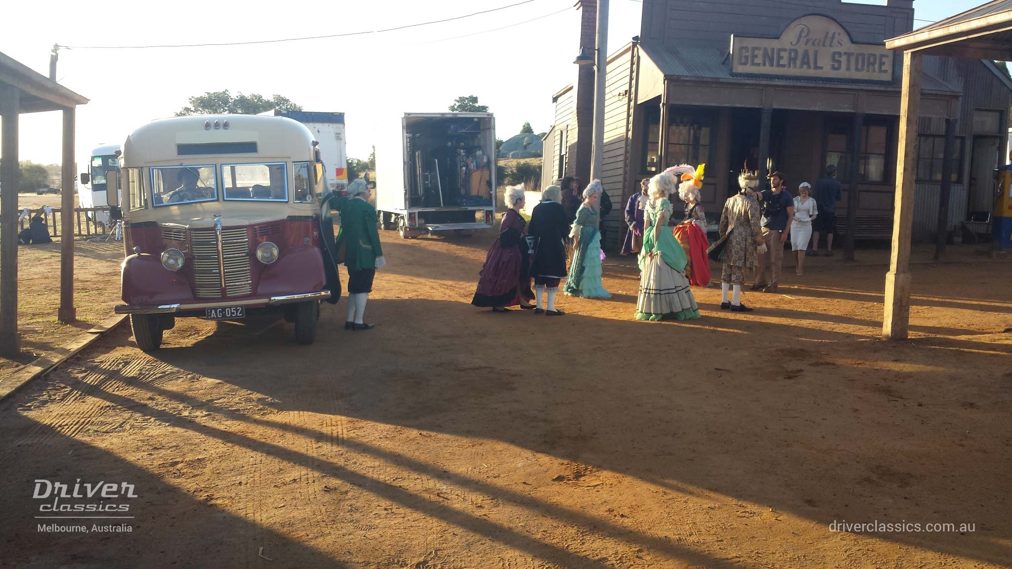 Bedford OB bus (1946 version), on the set of The Dressmaker movie, Cast & Crew at general store.