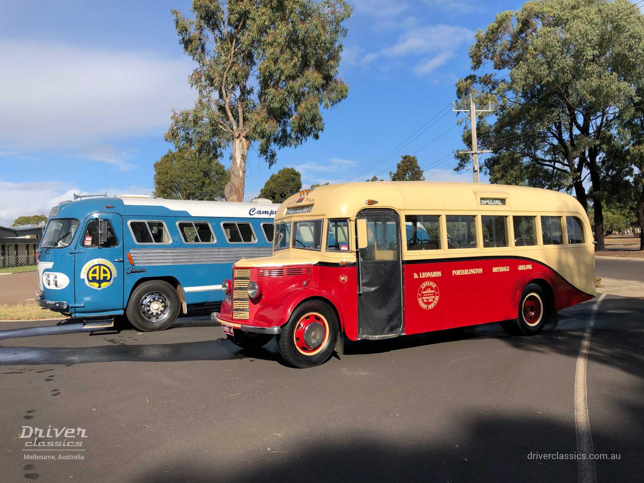 Bedford OB bus (1946 version), with Ansair Flxible Clipper AF38 bus, at Glen Campe Motor Museum Hamilton, Victoria. Photo taken April 2019.