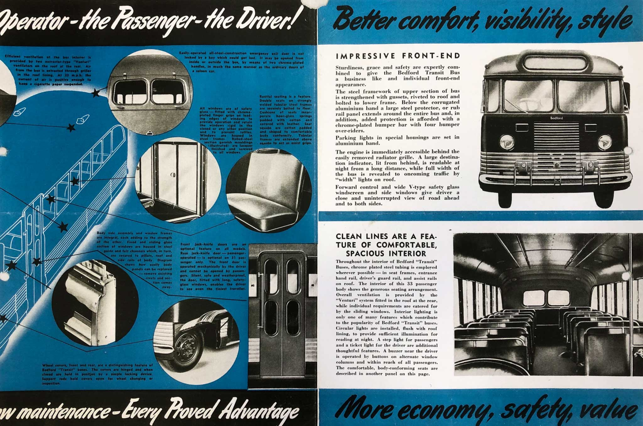 1940s Brochure for GM-H's Bedford OB 'Transit' Bus, double page spread.