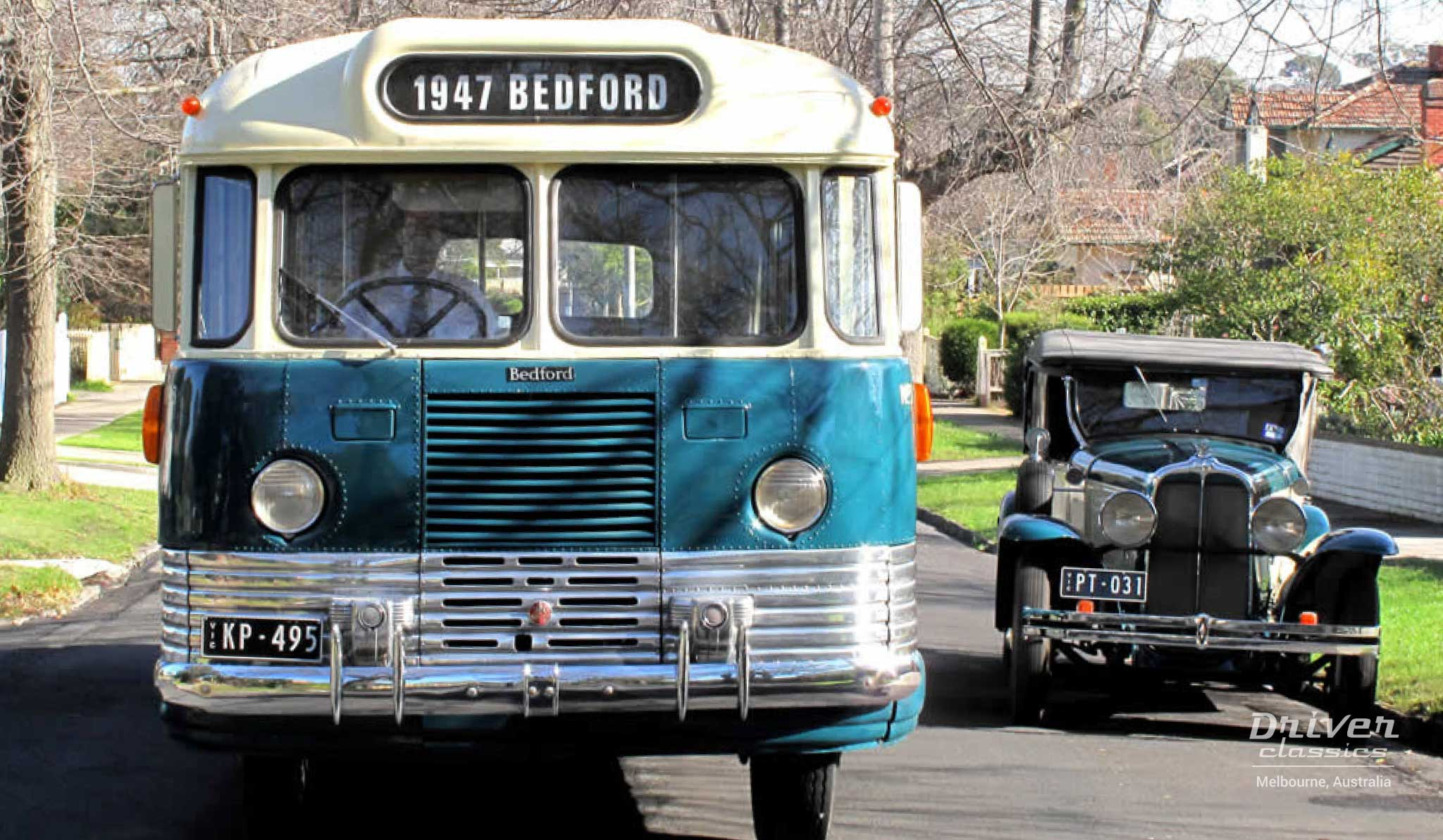 1947 Bedford OB bus front with 1930 Pontiac car