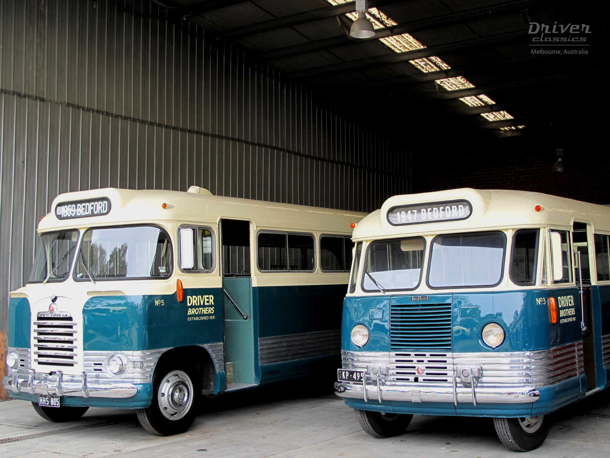 1947 Bedford OB and 1959 Bedford SB3 buses in garage
