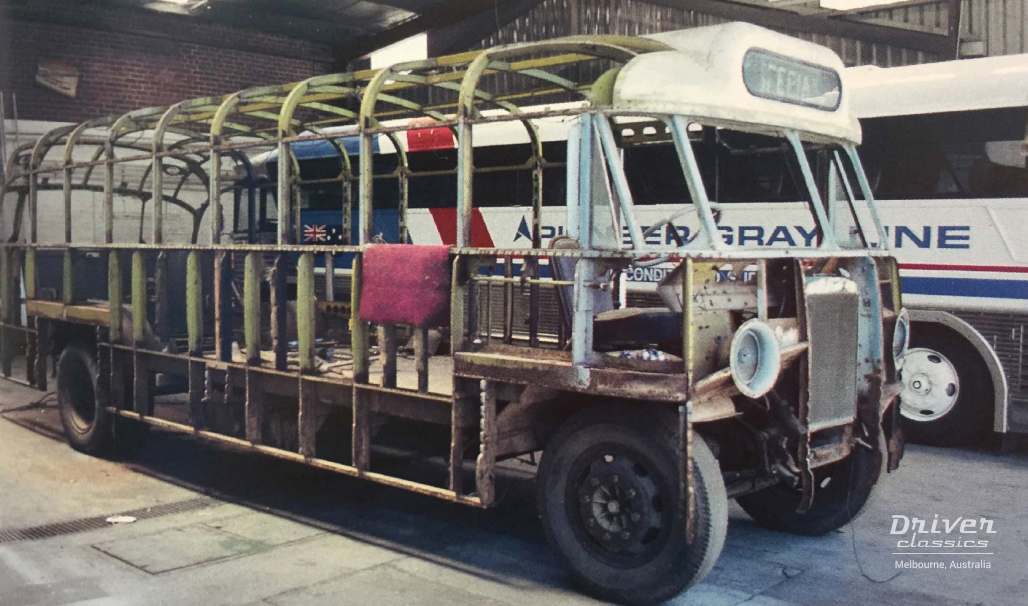 Bedford OB, during full restoration. Photo taken circa early 2000s