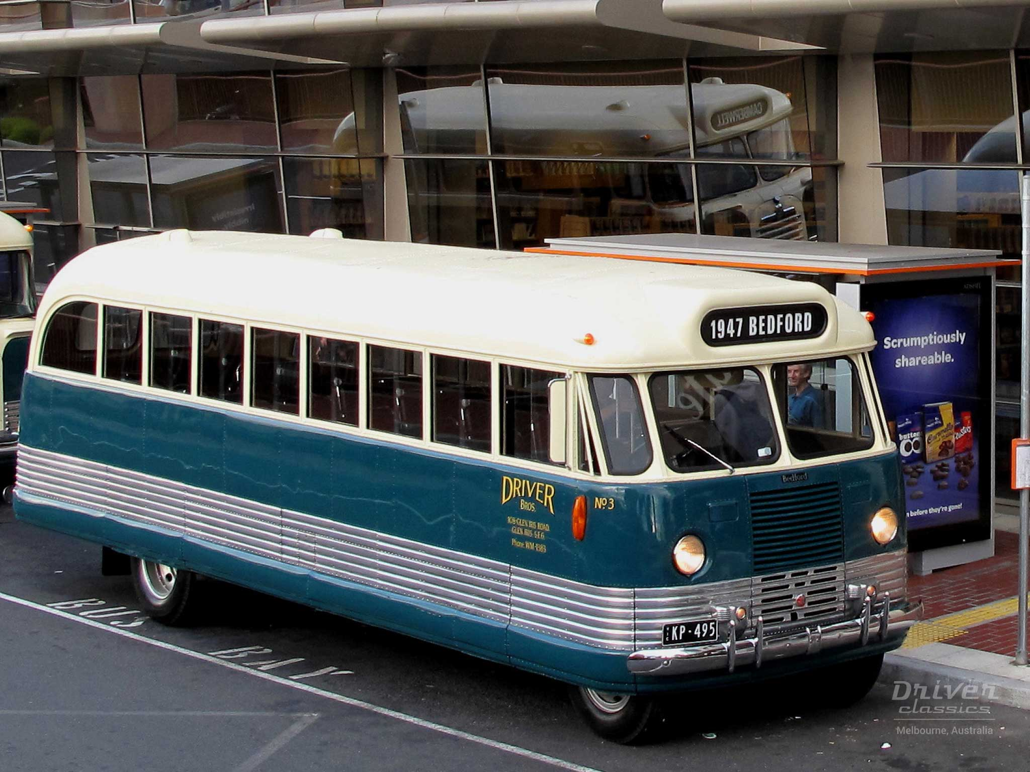 1947 Bedford OB bus from above, Chadstone VIC, Photo taken June 2013