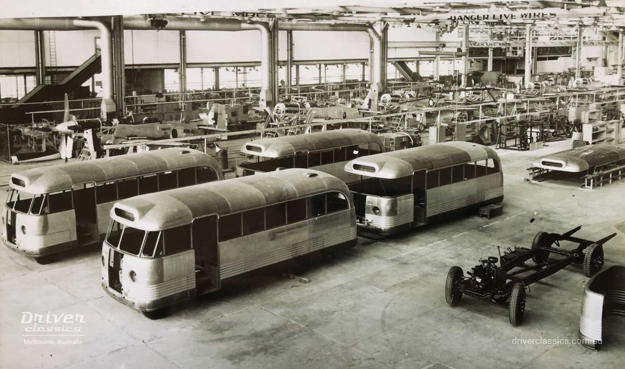 Building Bedford OB buses at Commonwealth Aircraft Corporation factory, Fishermans Bend, VIC 1946.