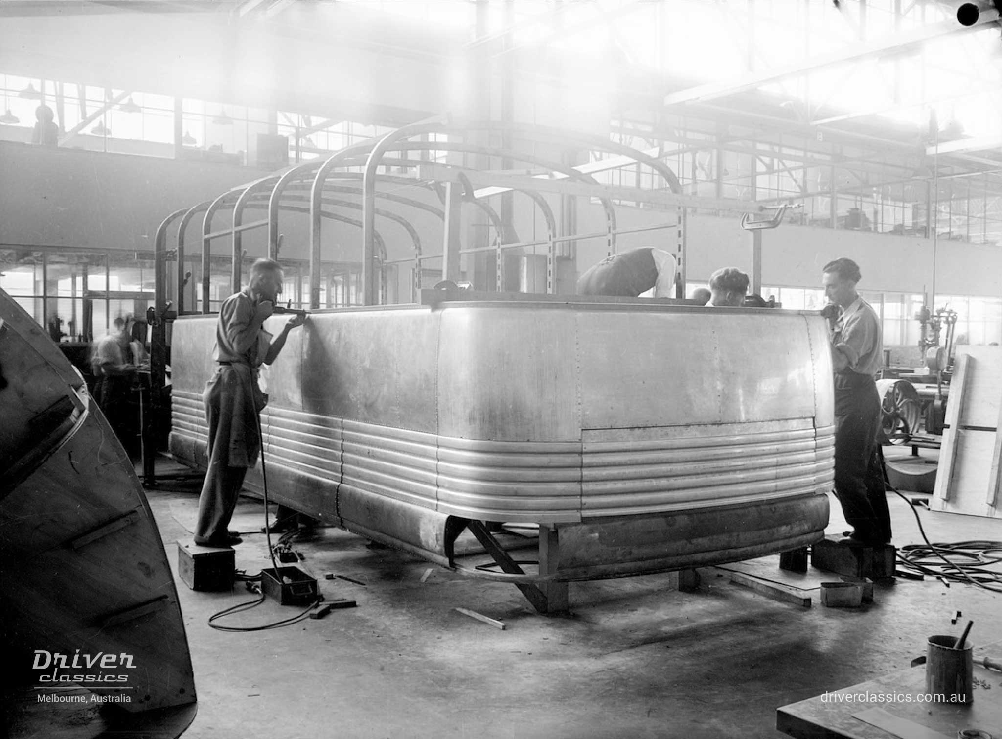 Construction of Bedford OB bus prototype in Adelaide South Australia. Photo taken 1946.
