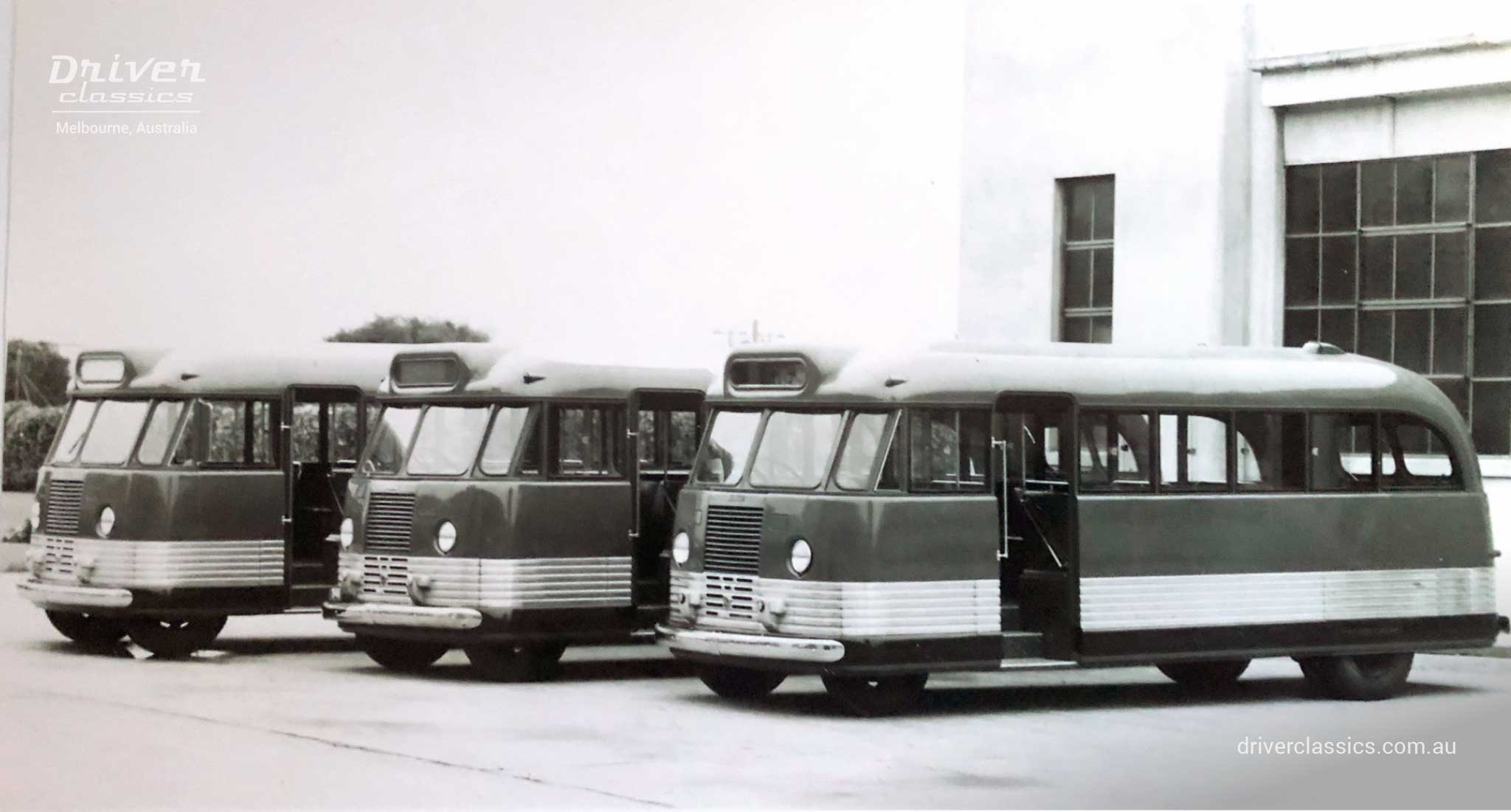 GM-H promotional shot of 3 Bedford OB buses.  The Bedford OB on the right is a short wheelbase model. photo taken 1946.