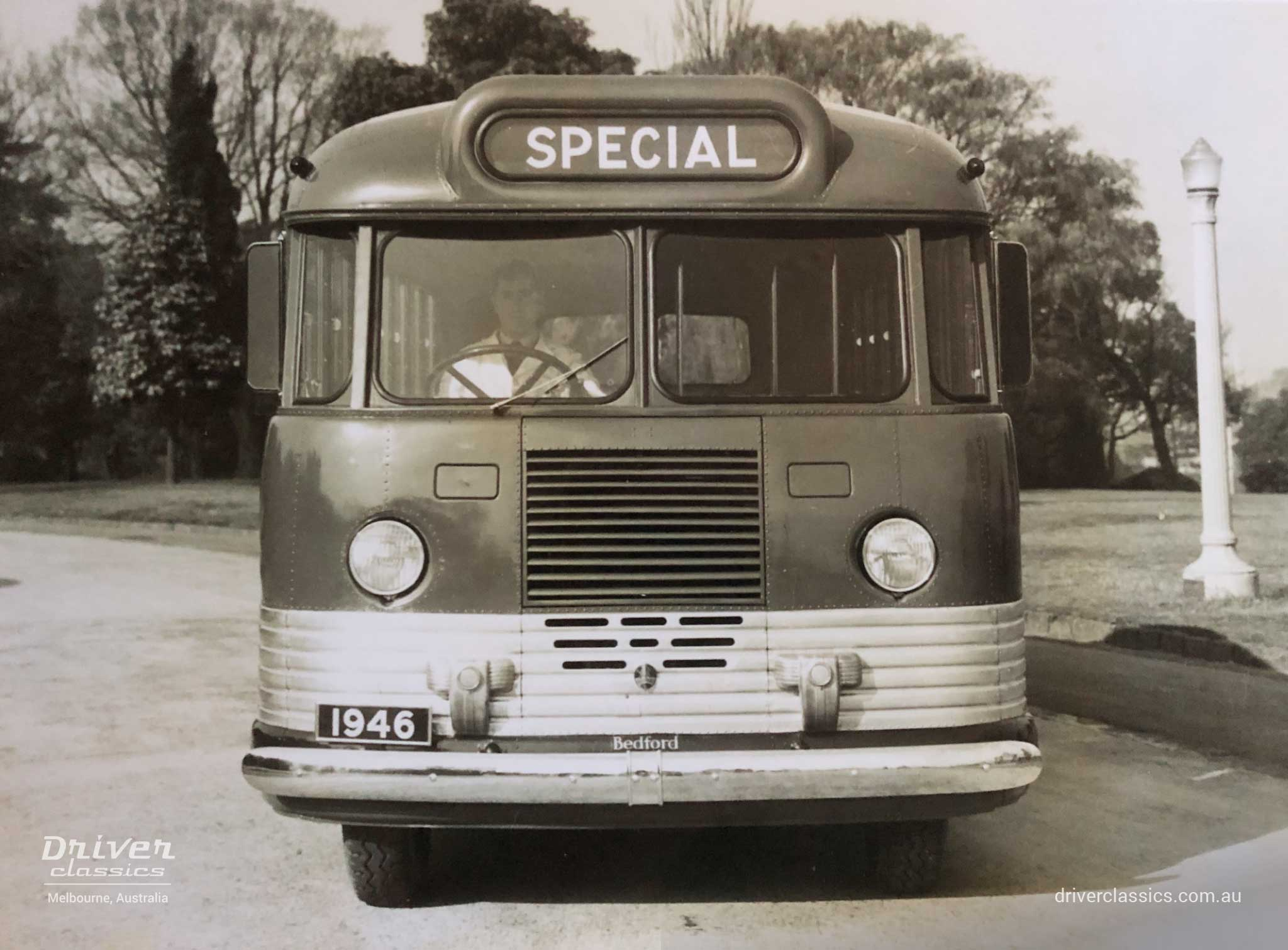 GM-H promotional shot of a Bedford OB bus front, photo taken 1946.