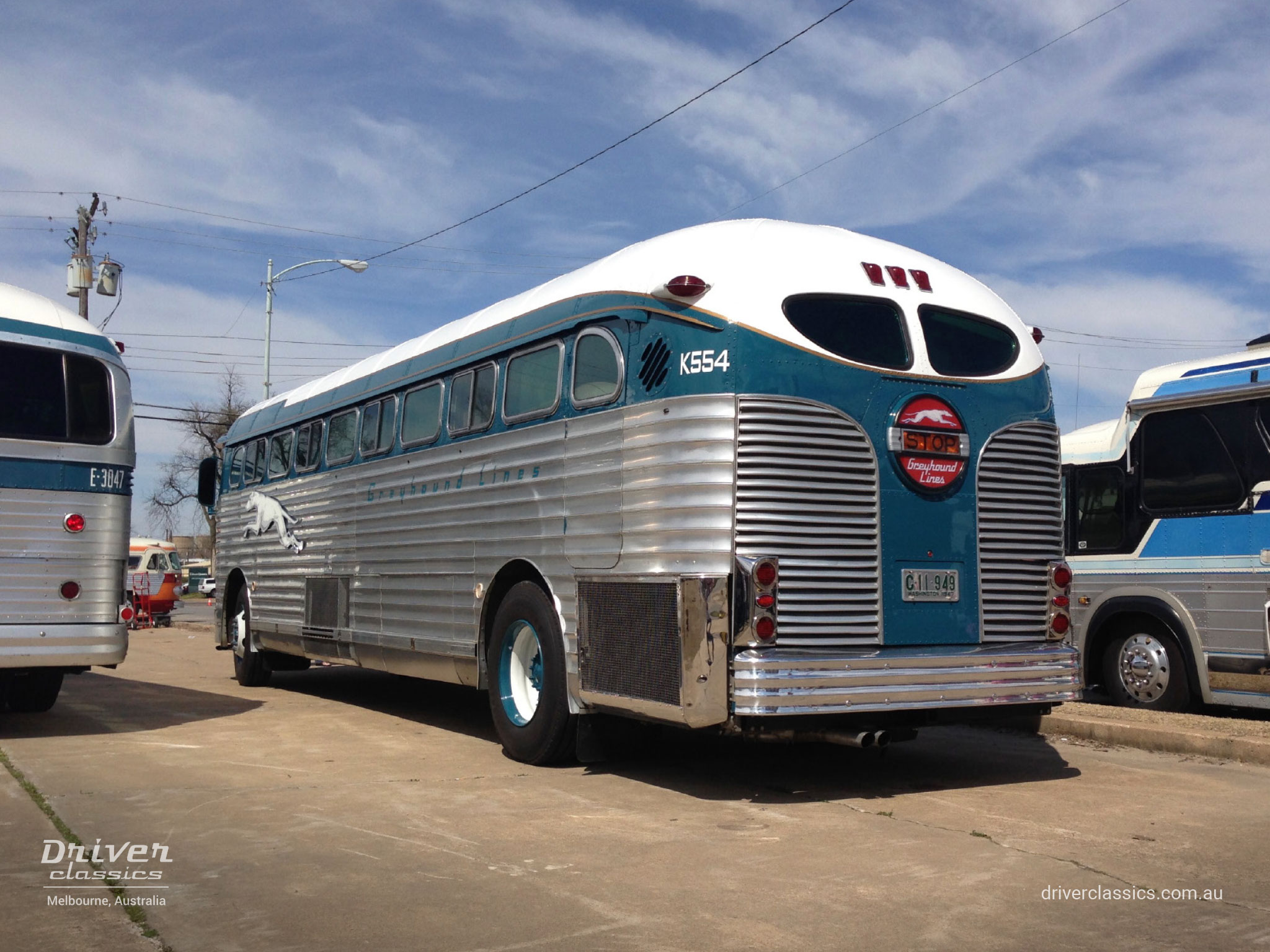Fully restored 1947 GM PD 3751 Silversides bus back, in the USA