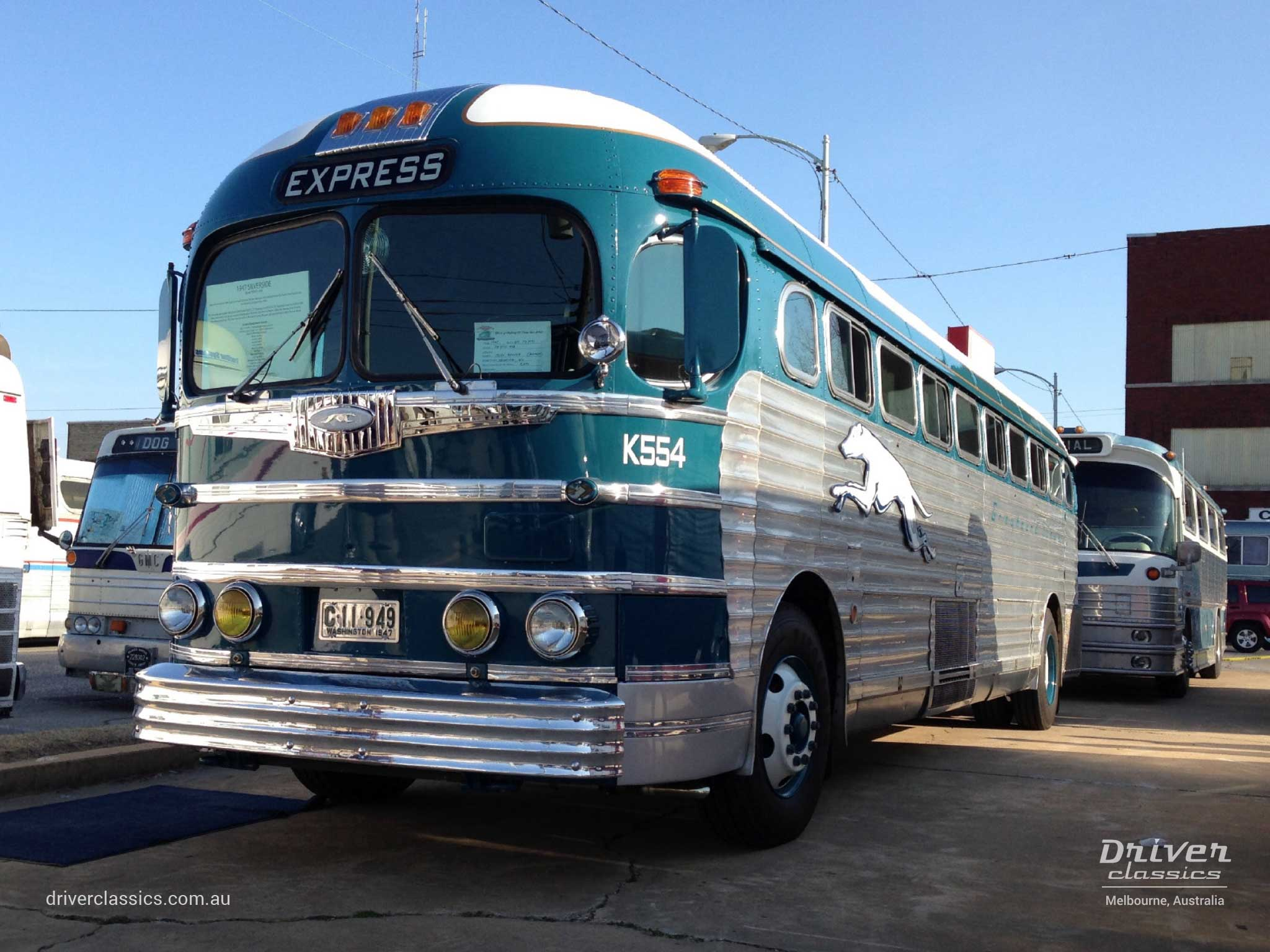 Fully restored 1947 GM PD 3751 Silversides bus front, in the USA