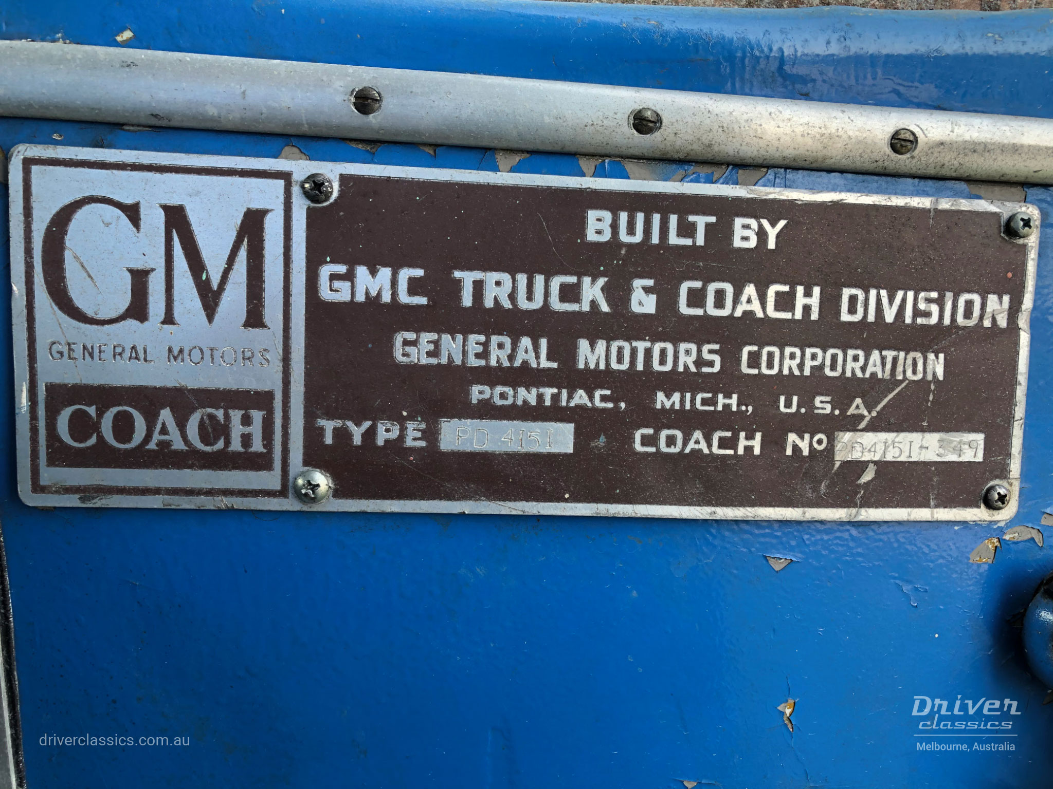 Manufacturers plate on GM PD-4151 Silversides, reads pd4151-349 1948 model, Photo taken April 2021