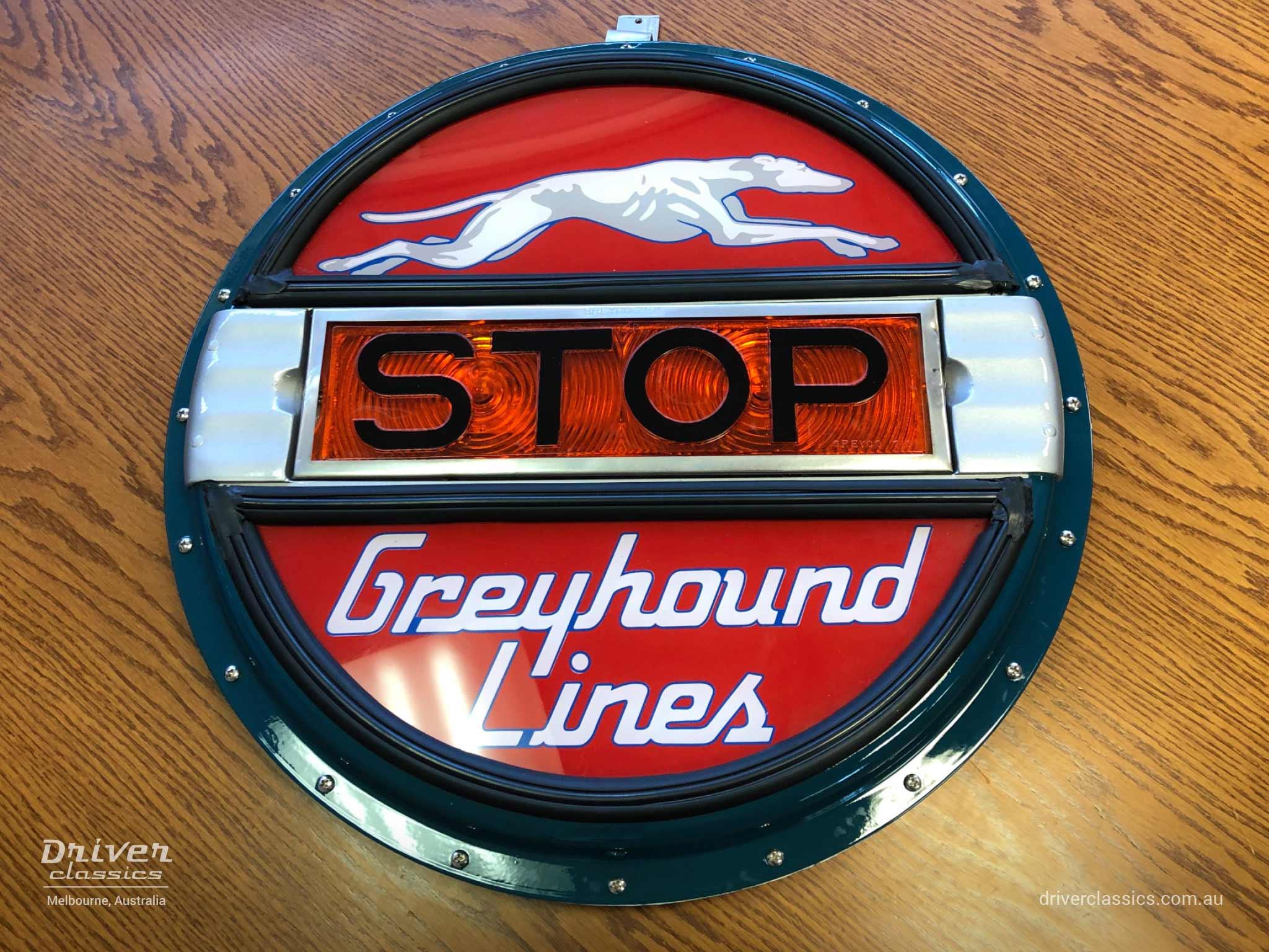 Restored original Greyhound drum head for bus rear, Melbourne, VIC July 2019