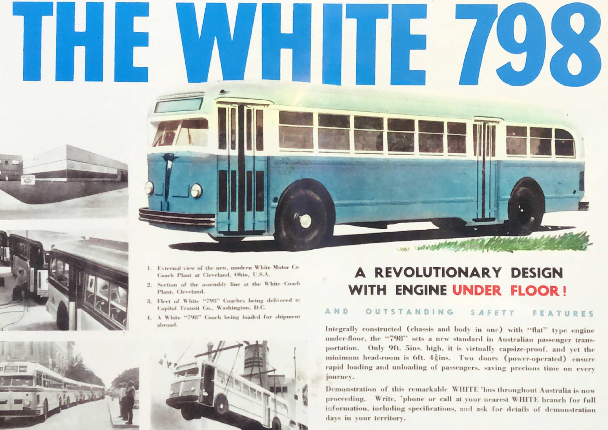 Advertisement introducing the new 1948 White 798-12 to Australia 'A revolutionary design with engine underfloor', July 1948