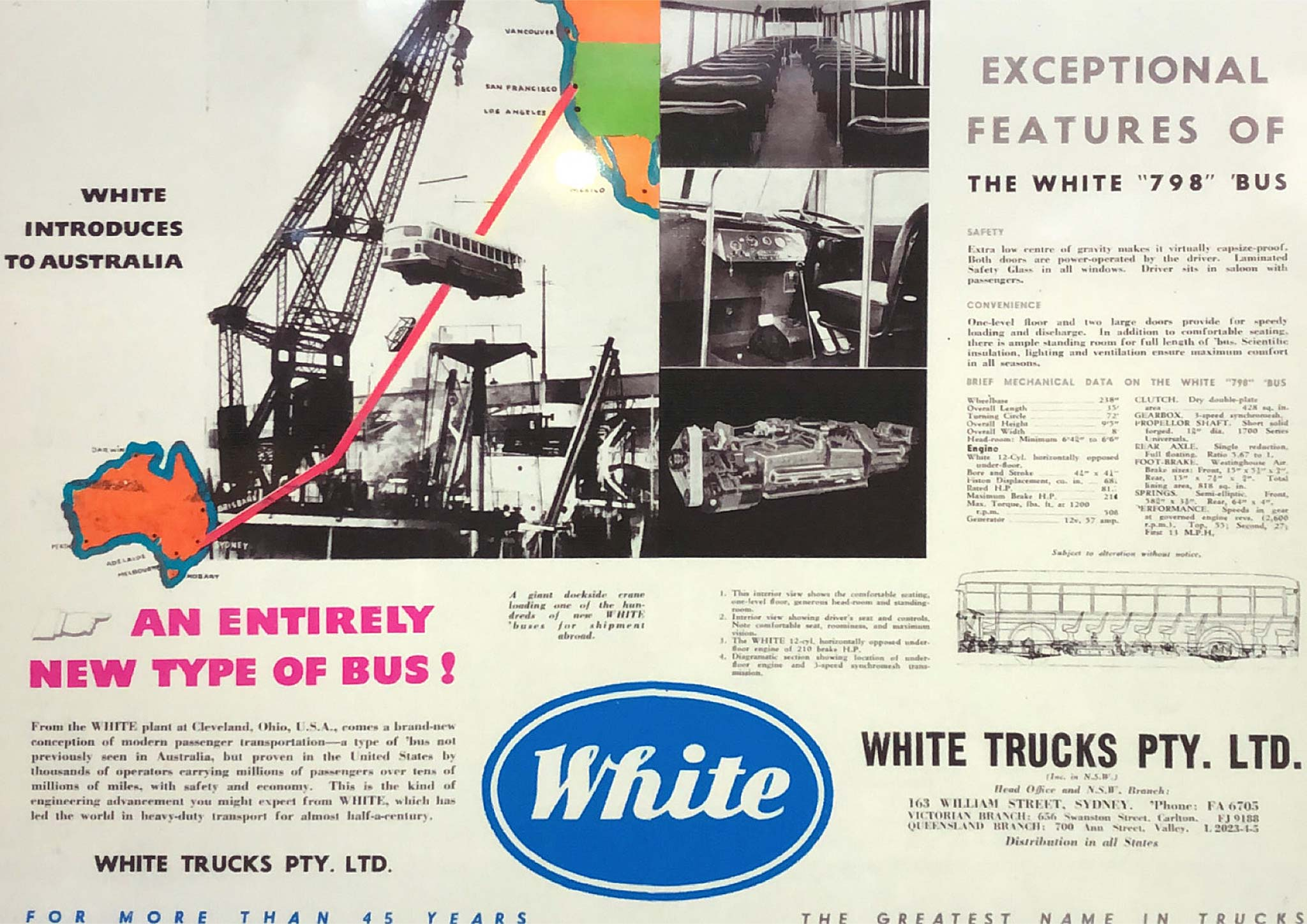 Advertisements introducing the new 1948 White 798-12 to Australia 'An entirely new type of bus', July 1948