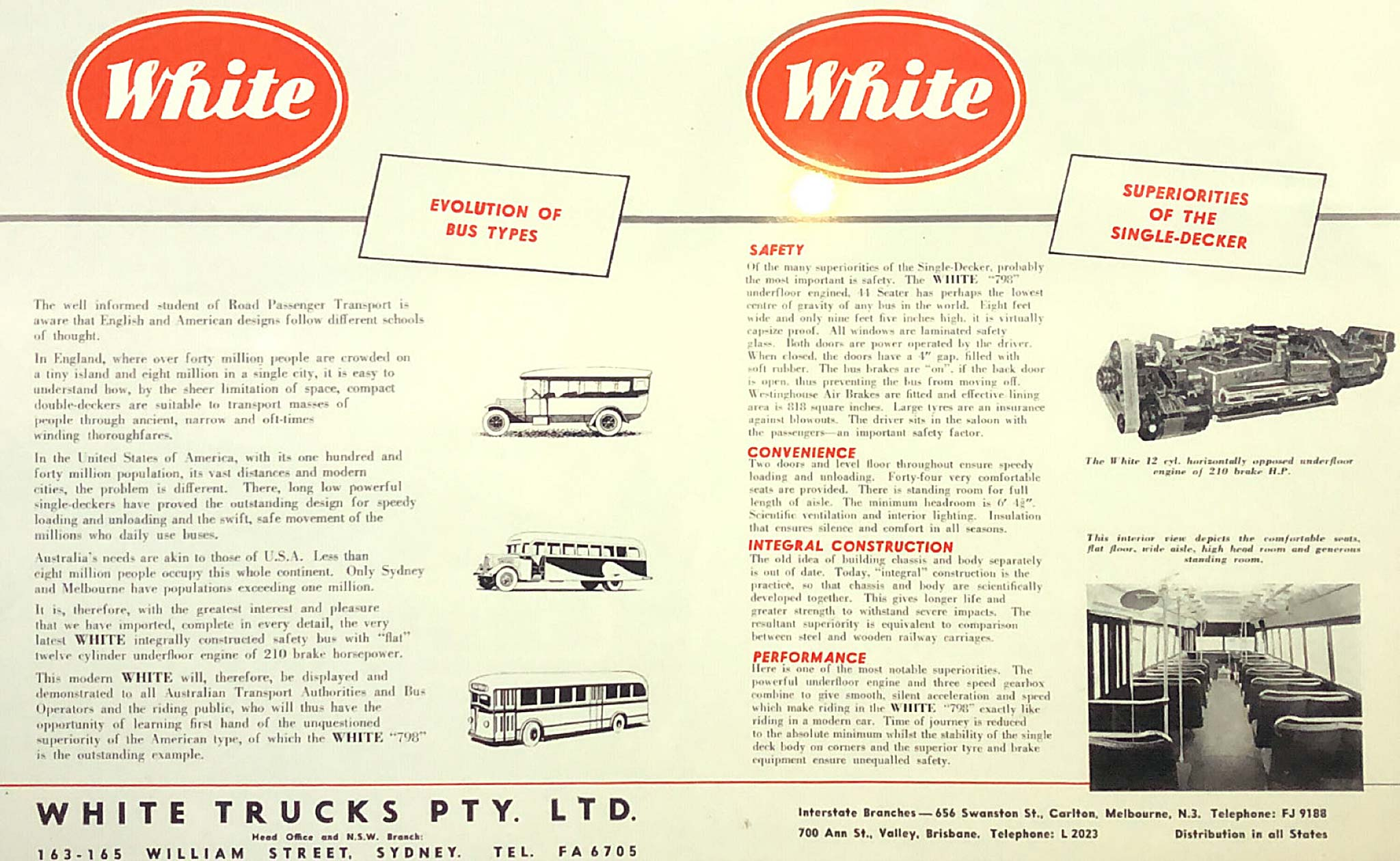Advertisement introducing the new 1948 White 798-12 to Australia 'Evolution of bus types', July 1948