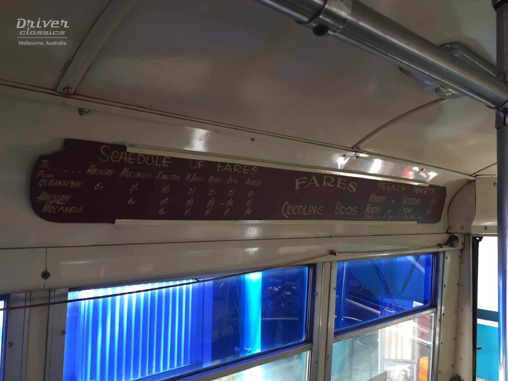 White 798-12 Bus - Interior signboard