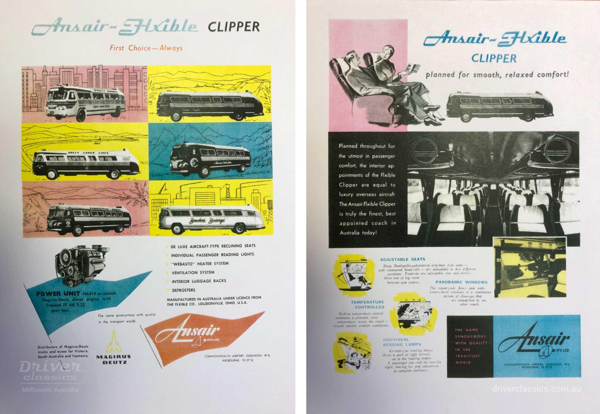 Ansair Flxible Clipper Advertisement, circa 1957.