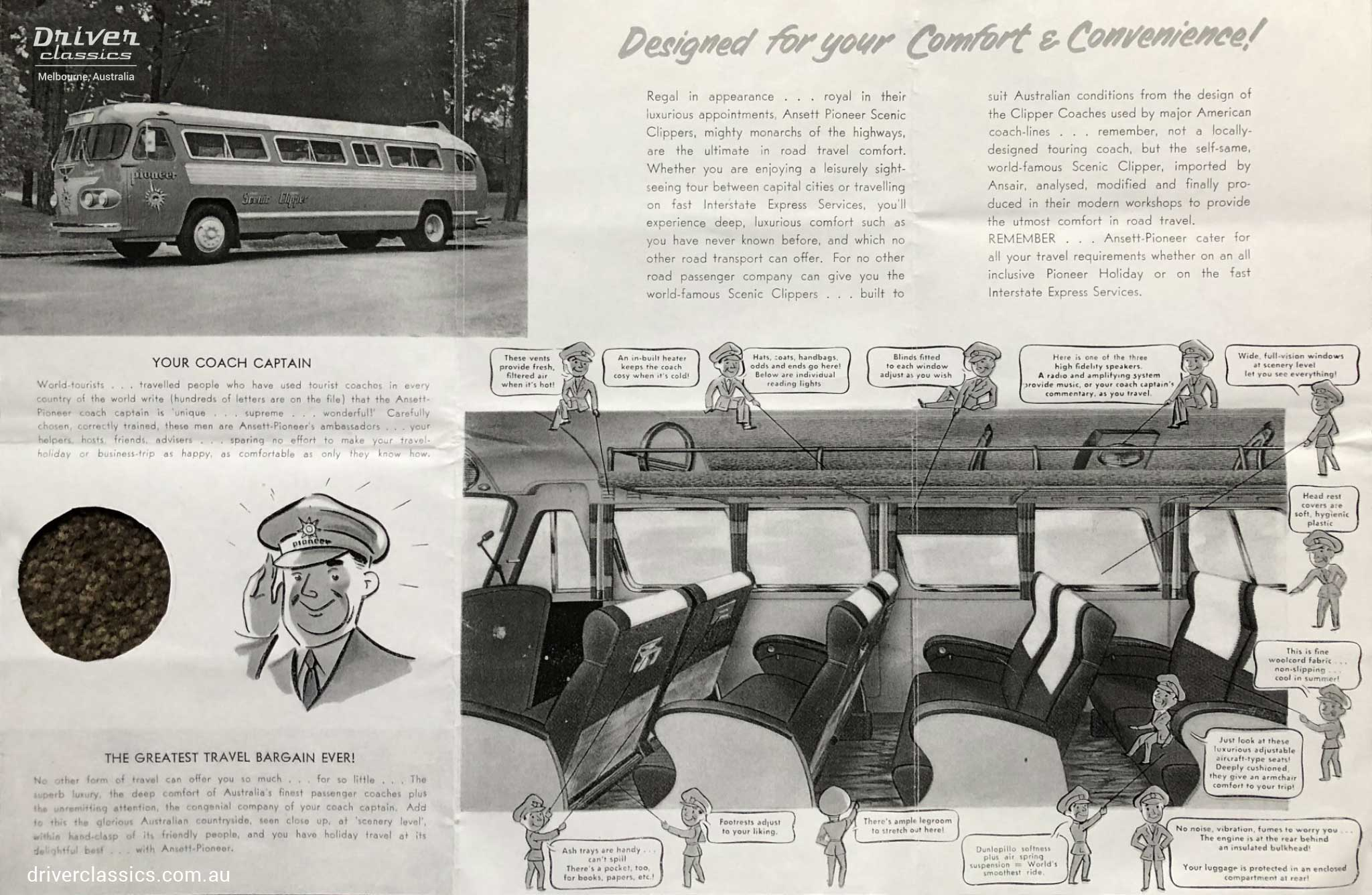 Ansair Flxible Clipper - for 'comfort and convenience' brochure 1950s. Illustration showing interior features.