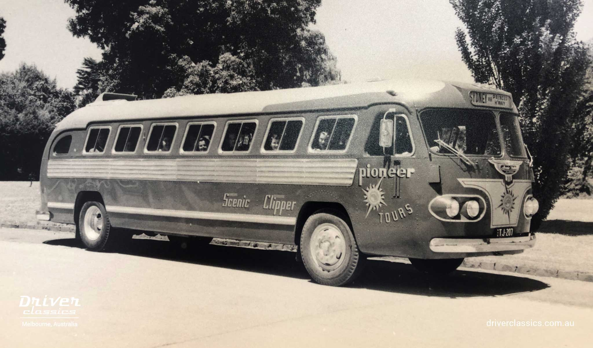 Pioneer Tours promotional photo, of Ansair Flxible Clipper Bus, circa 1951.