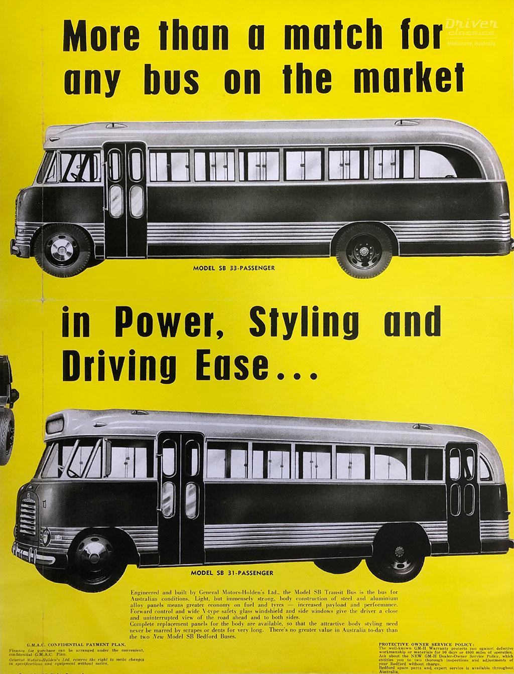 1952 Brochure for GM-H's Bedford SB 'flat screen' bus.