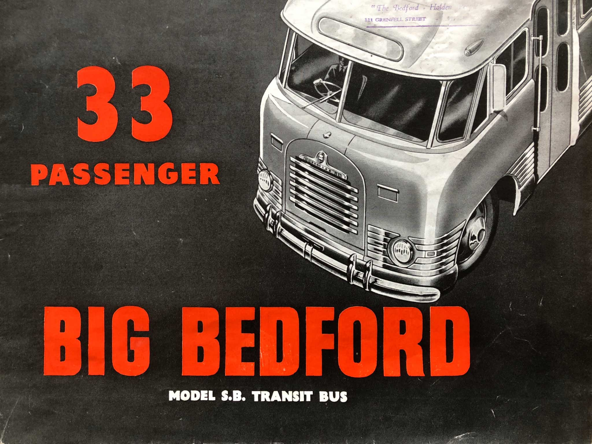 1954 Brochure for GM-H's Bedford SB 'flat screen' bus, outside cover.
