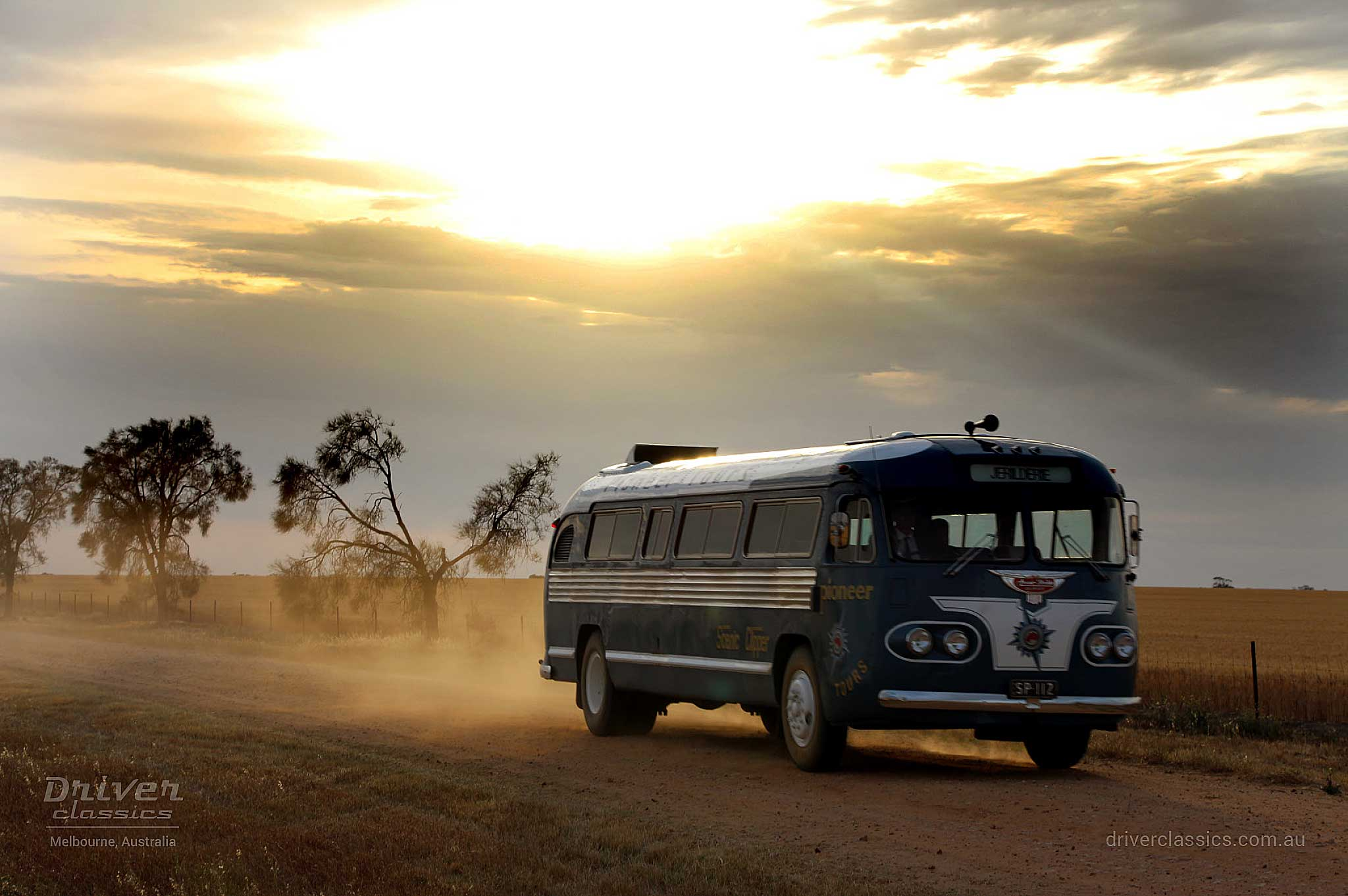 Flxible Clipper bus (1954 version) in sunset, on set of The Dressmaker movie. Photo taken Feb 2015.