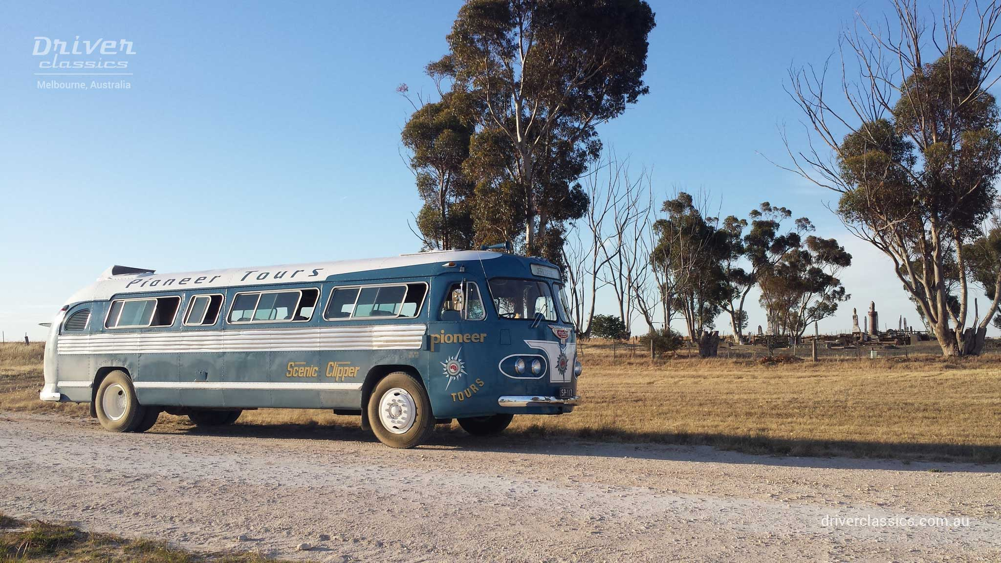 Flxible Clipper bus (1954 version) parked on set of The Dressmaker movie. Photo taken Feb 2015.