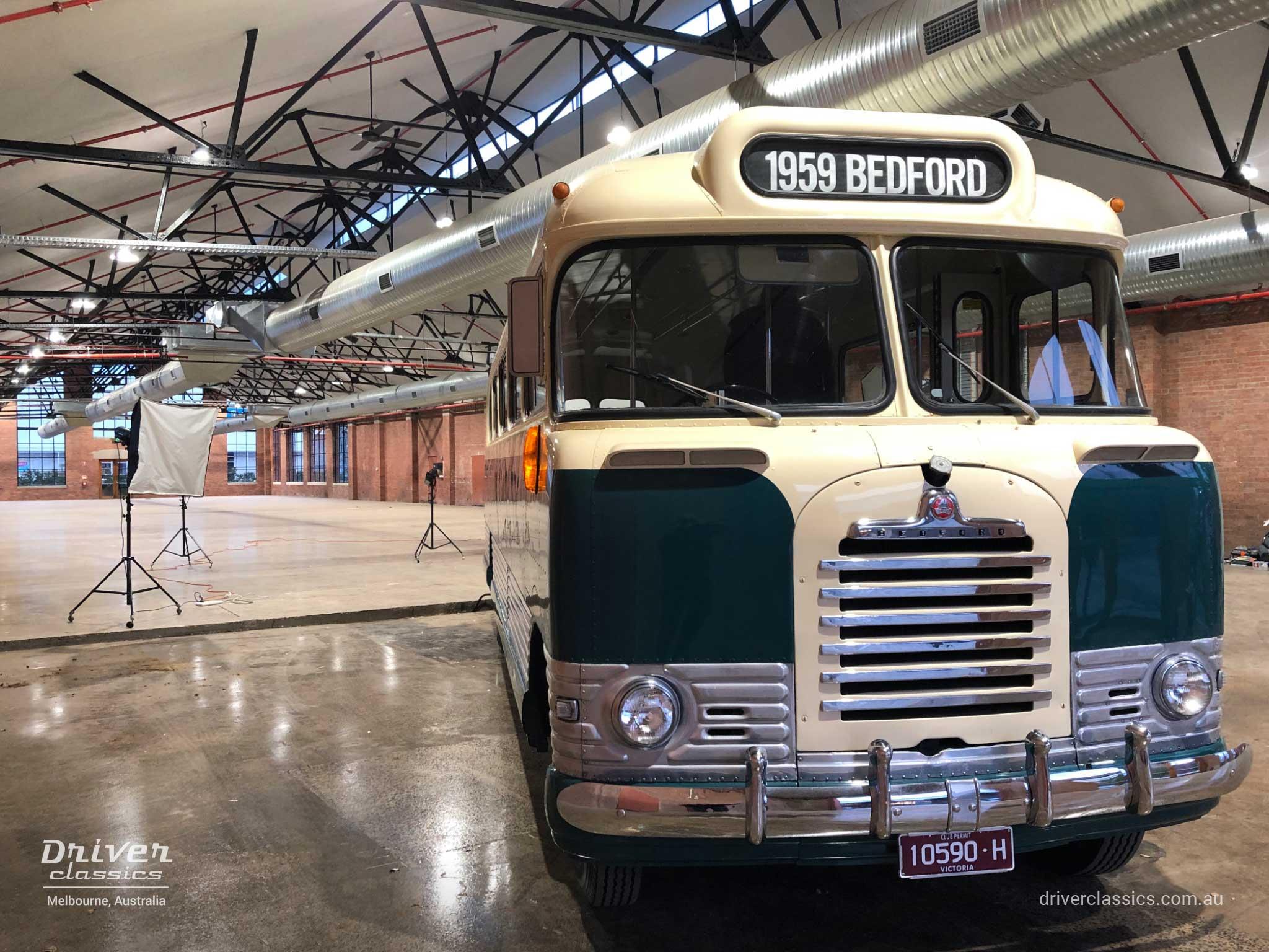 1959 Bedford SB3 bus, on a film set, Geelong VIC, phot taken May 2019