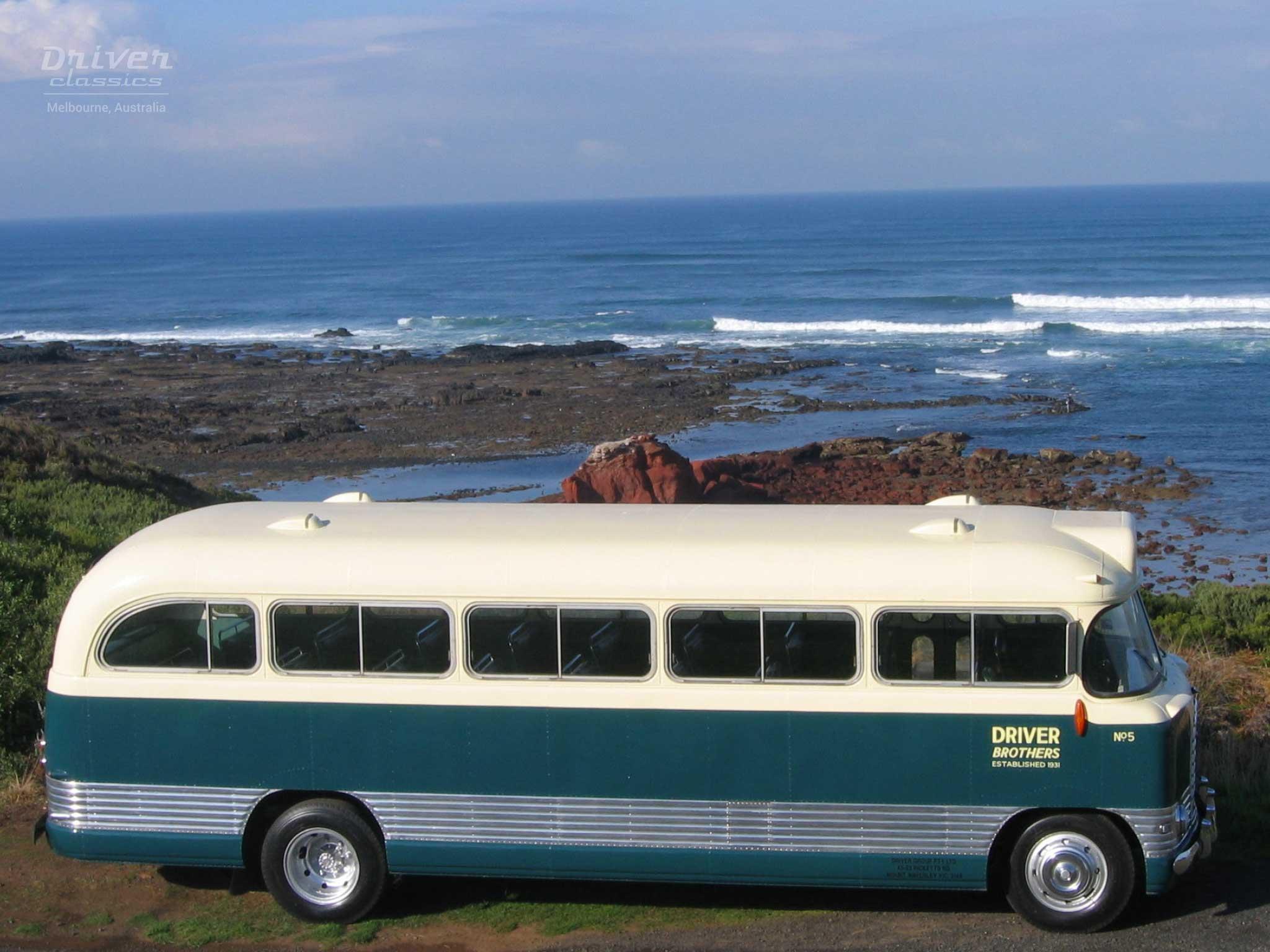 1959 Bedford SB3 bus at beach