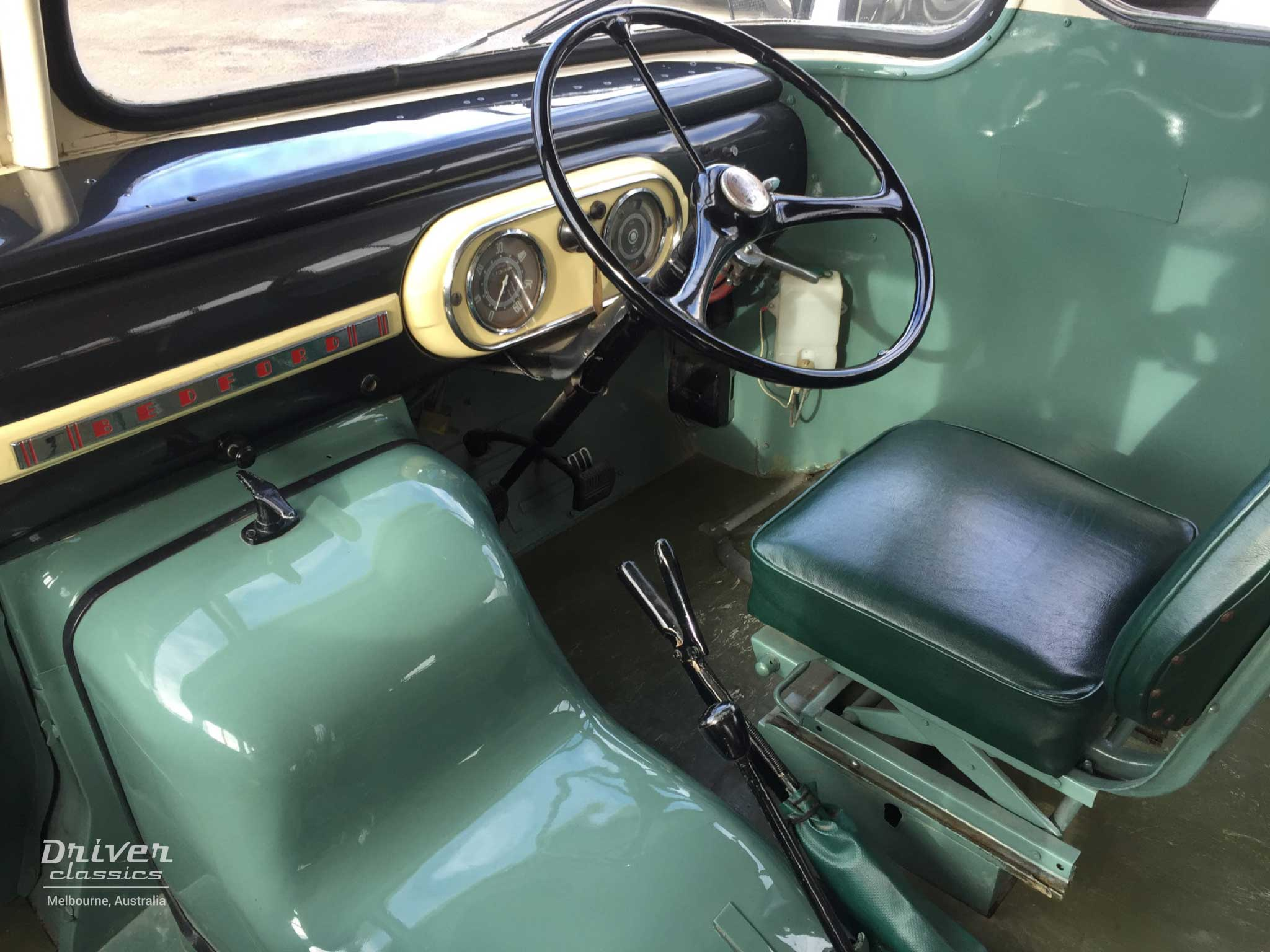 Bedford SB3 bus (1959 model), Dashboard and drivers seat.