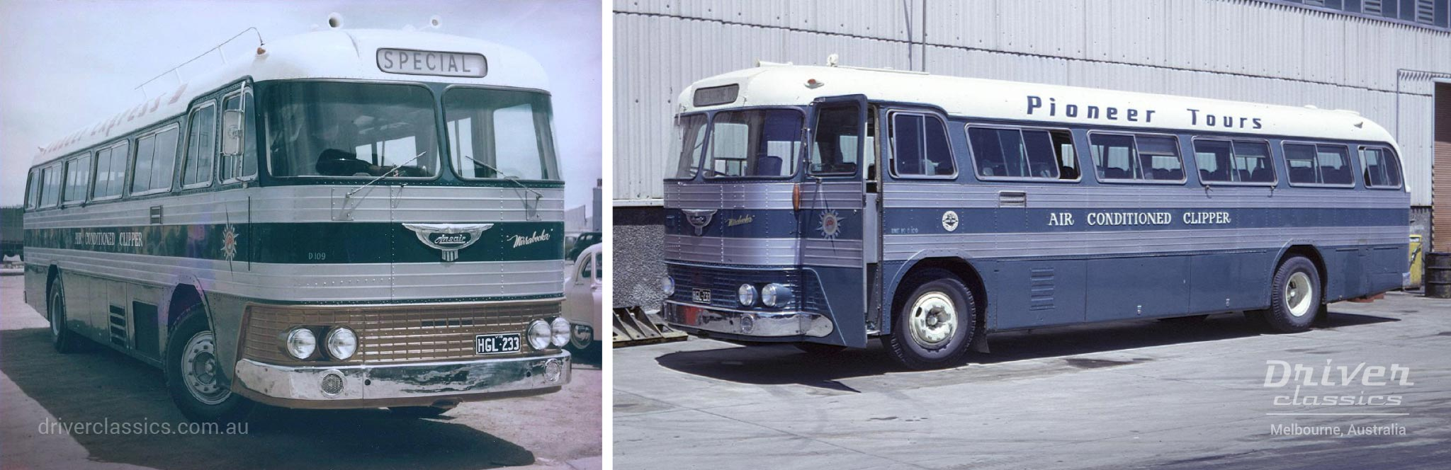Ansair Jupiter bus, 1960 version,  Pioneer Express colours with gold grille and Pioneer Tours colours with blue grille.