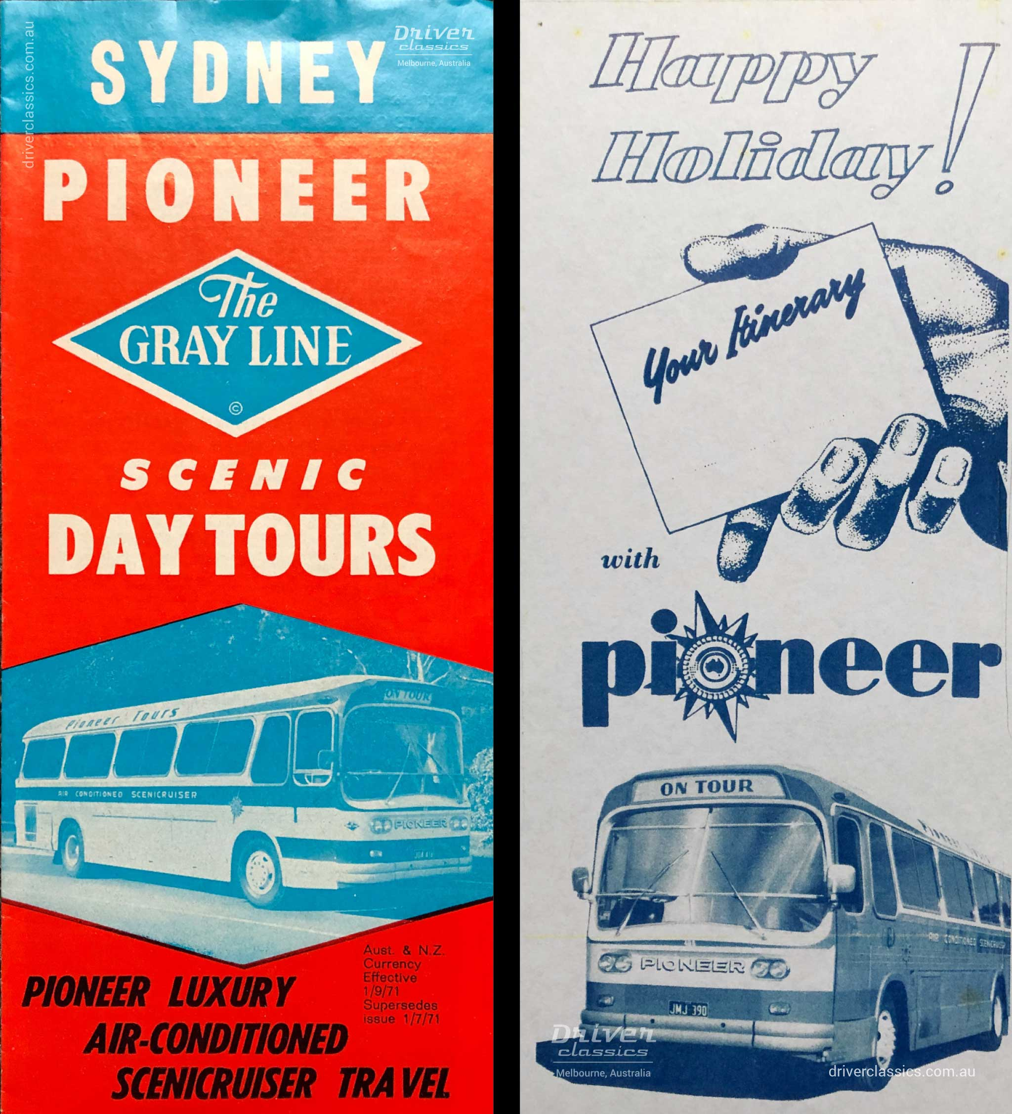 Pioneer Sydney Day Tour brochure 1971, Pioneer advertising, circa late 1960s, both featuring Ansair Scenicruiser bus.