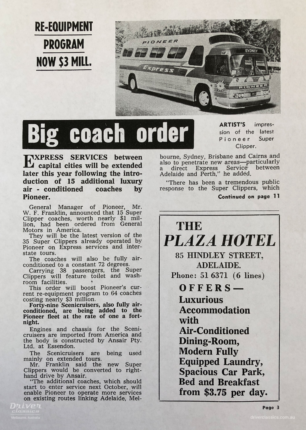 Pioneer promotion of the first General Motors GM PD 4107 bus coach order, circa 1966