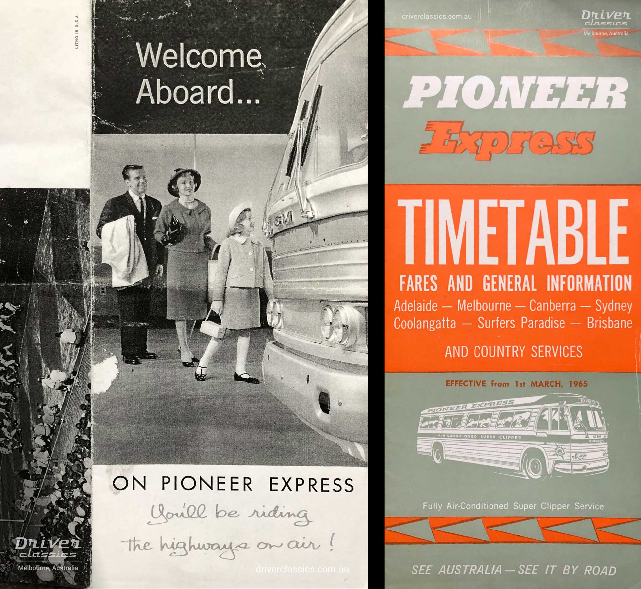 Pioneer advertising, circa early 1960s and Pioneer Express timetable from 1965. Both featuring GM PD-4106 bus.