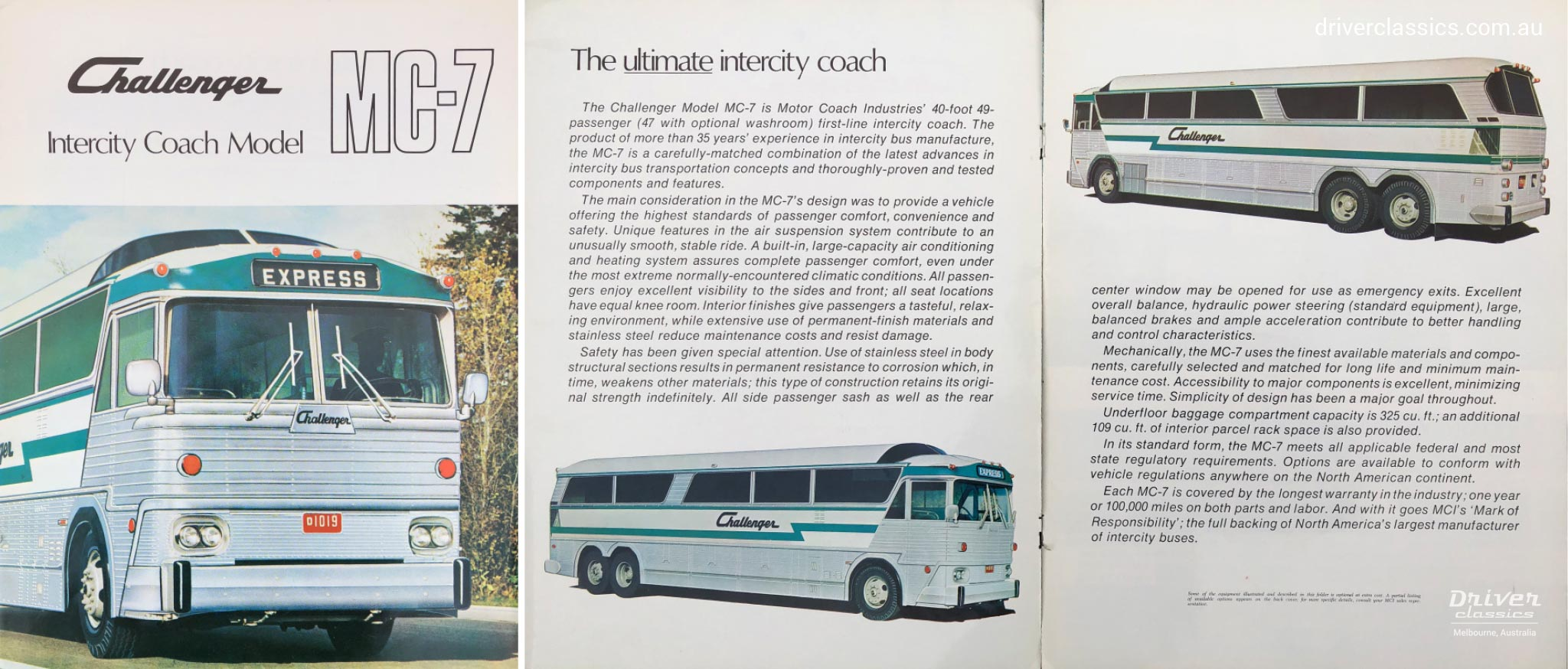MCI MC7 bus brochure cover and pages from the Late 1960s