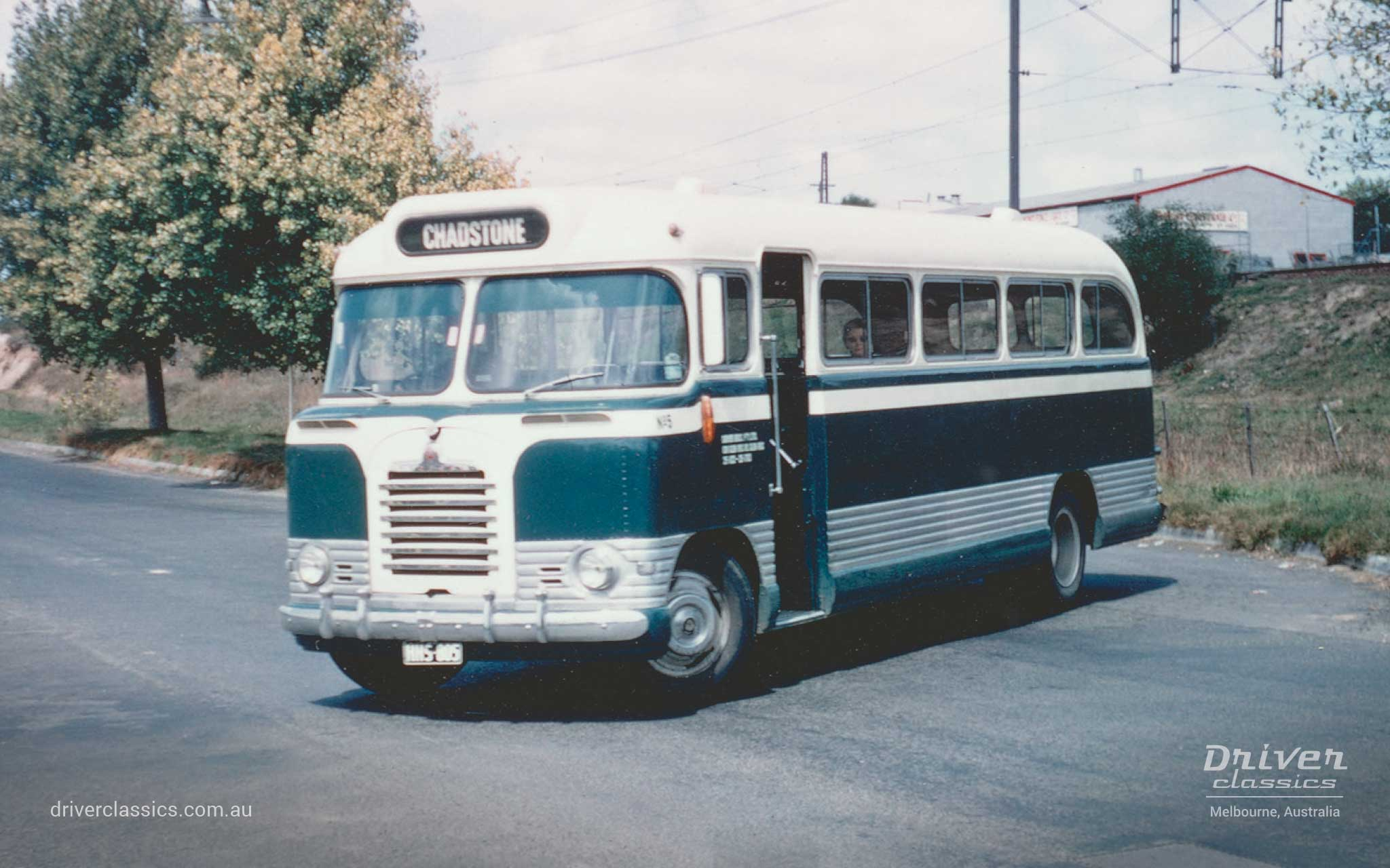 Driver Brothers #5, 1961 Bedford SB3 'wrap around' windscreen, in the new colours, Glen Iris Station turning area, photo taken late 1960s.