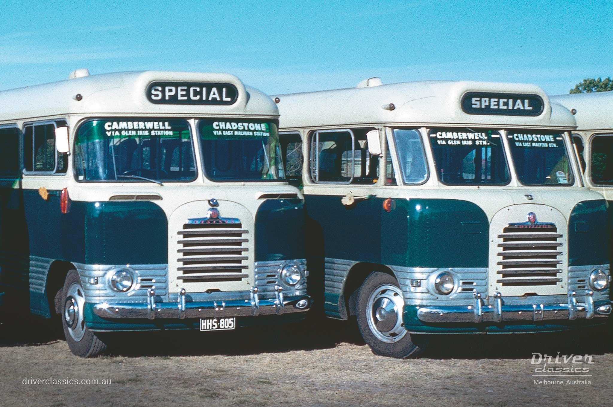 1961 Bedford SB3 wrap around version and 1957 Bedford SB3 flat screen version, photo taken 1962.
