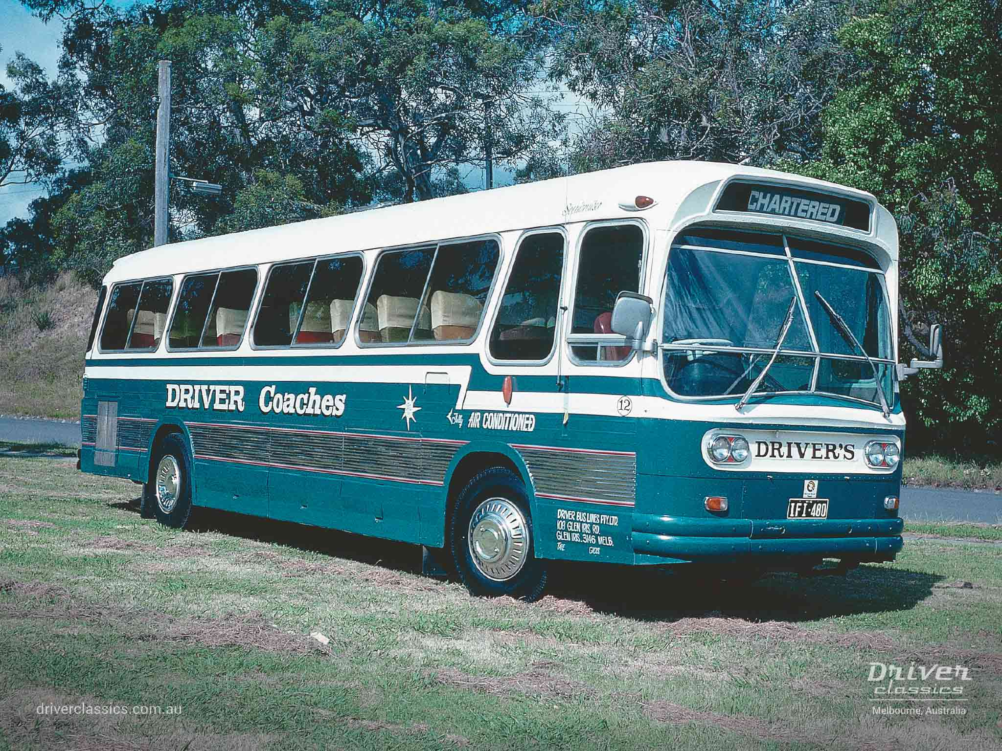 Ansair Scenicruiser bus, GMC 1966 version, in Driver Bus Lines colours, VIC 1976