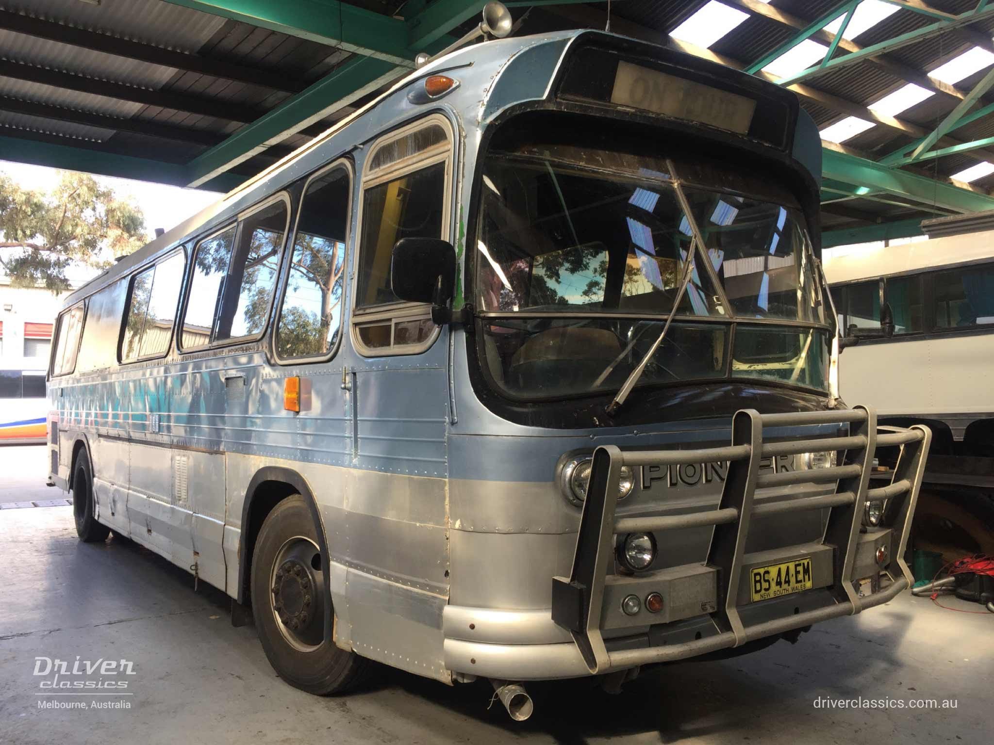 Ansair Scenicruiser bus, GMC 1967 version, front and side, in workshop, August 2018