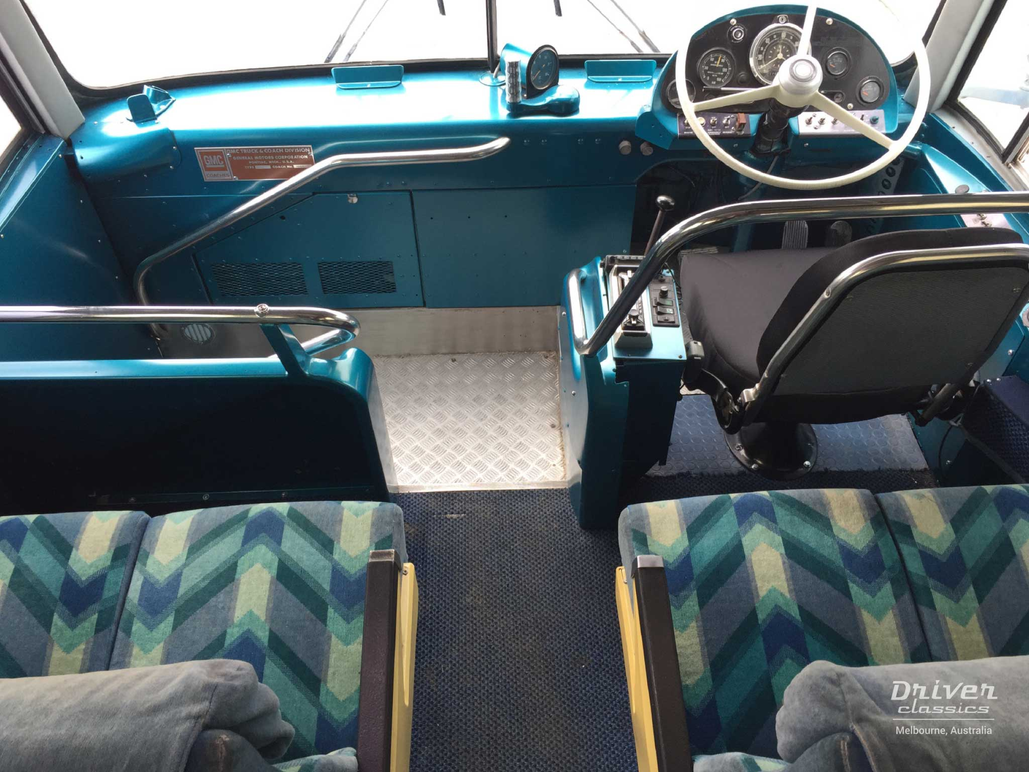GMC PD 4107 bus dashboard adn front area